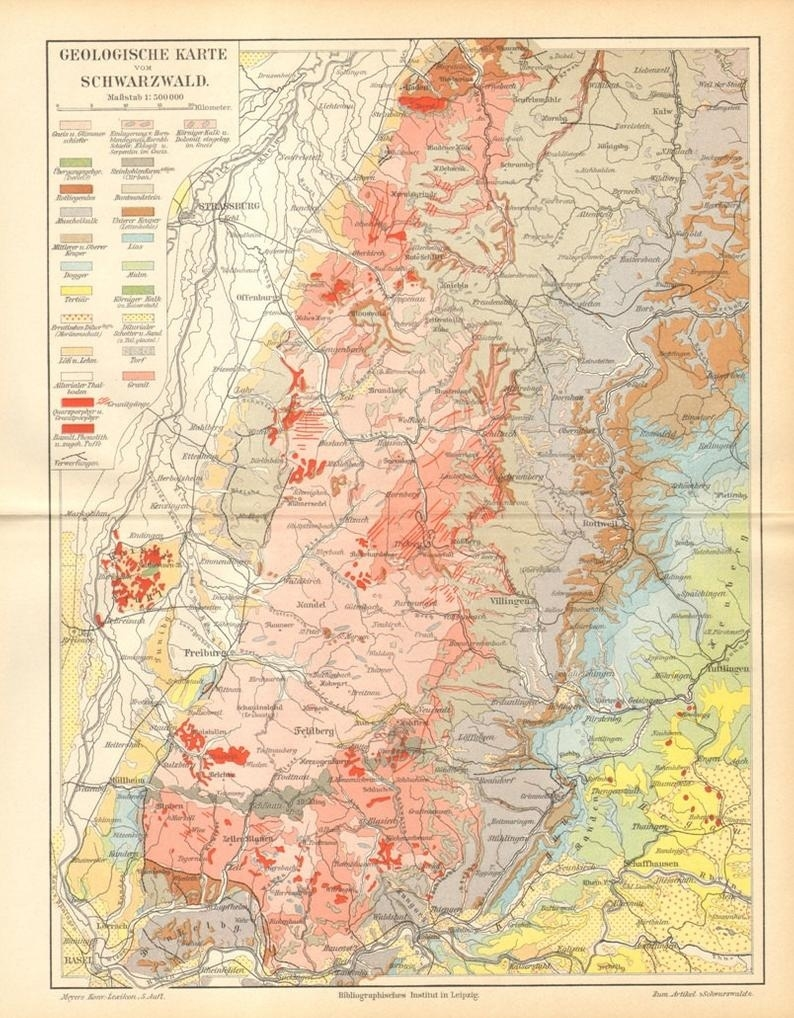 1896 Original Antique Geological Map Of The Black Forest in Black Forest Area Germany Map