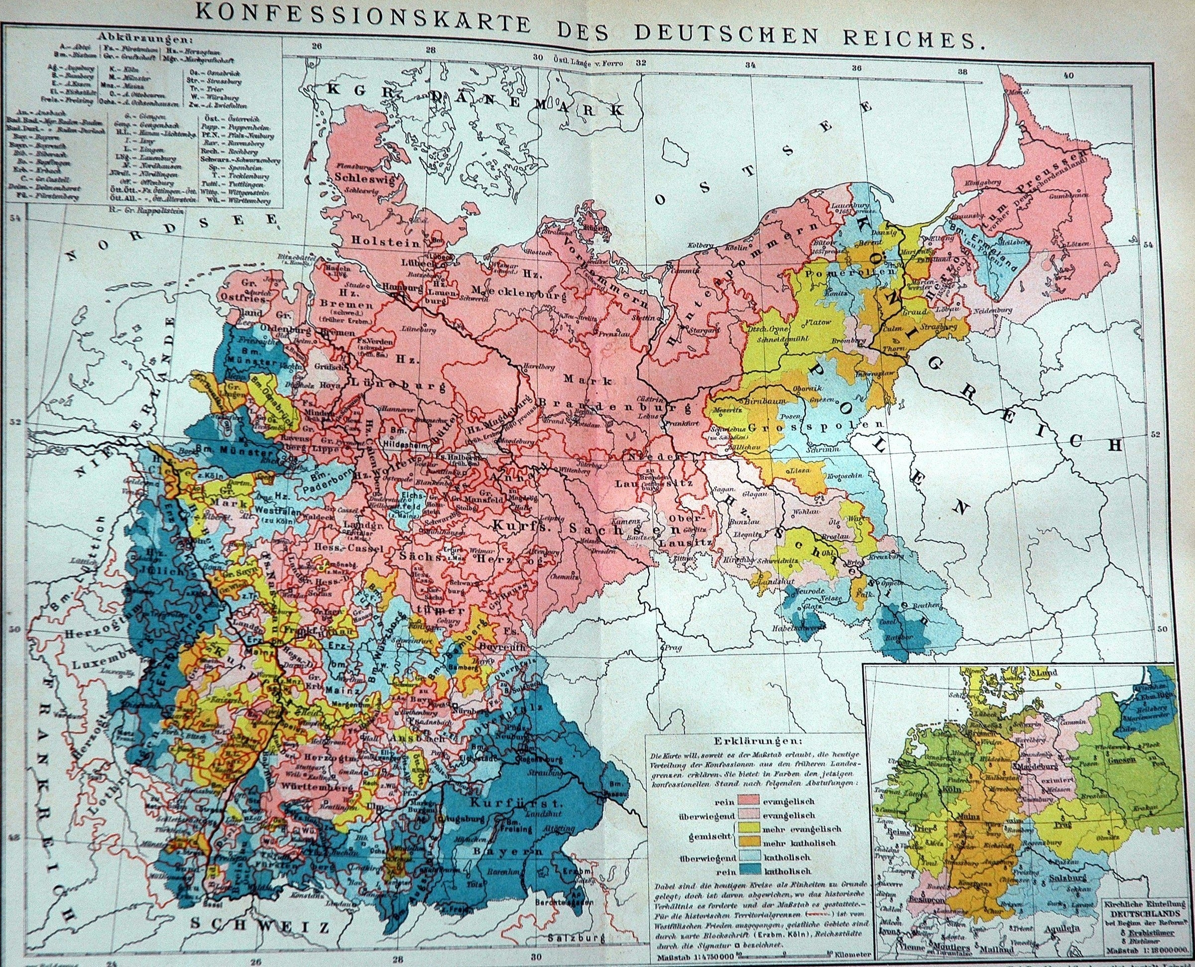1898 Historical Map Of The German Empire: Religious Denomination with German Maps And Facts For Genealogy