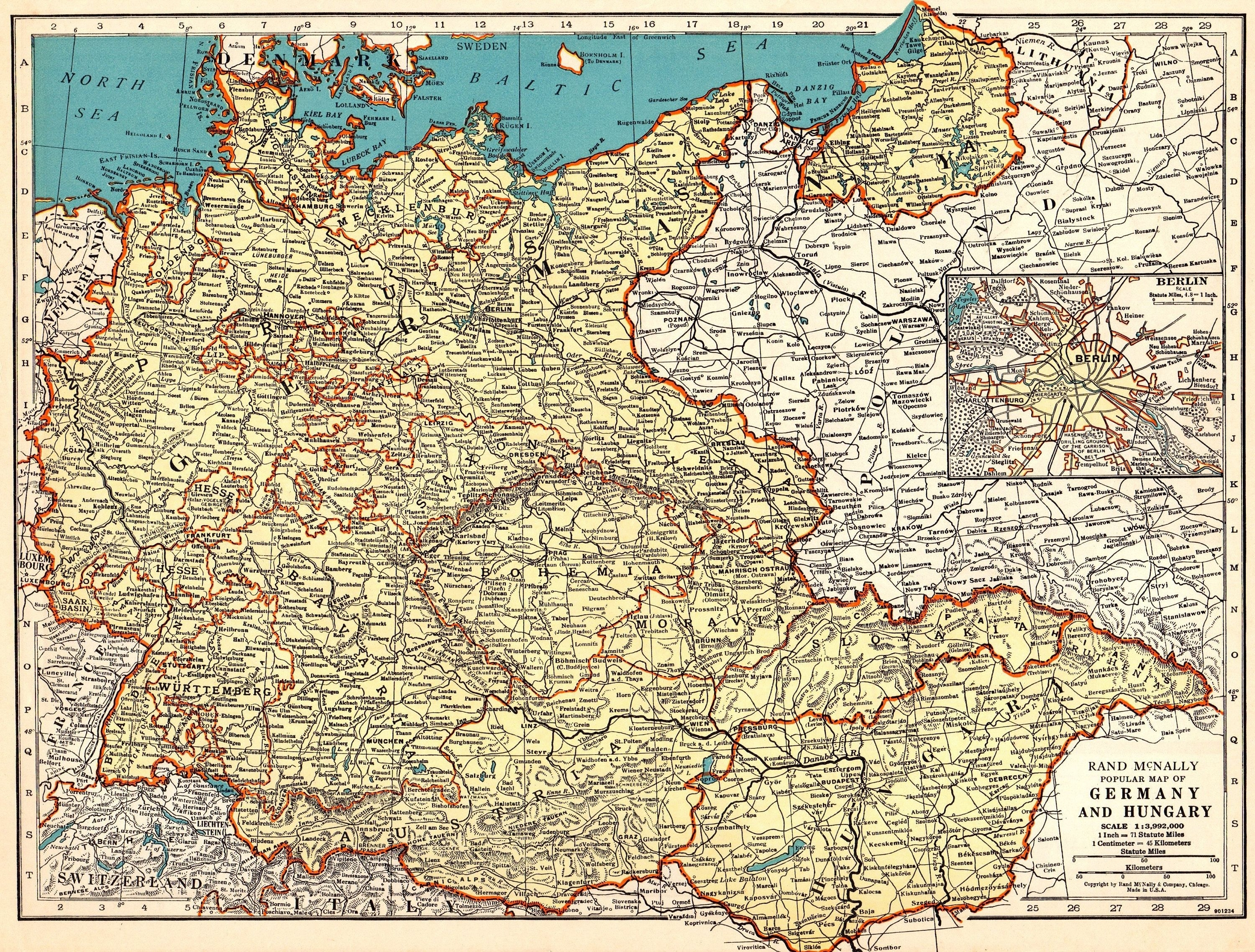 1939 Antique Germany Map Of Germany And Hungary Map Gallery Wall with regard to Germany Map 1939