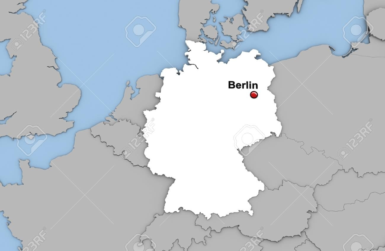 Abstract 3D Render Of Map Of Germany Highlighted In White Color.. in Capital Of Germany Map