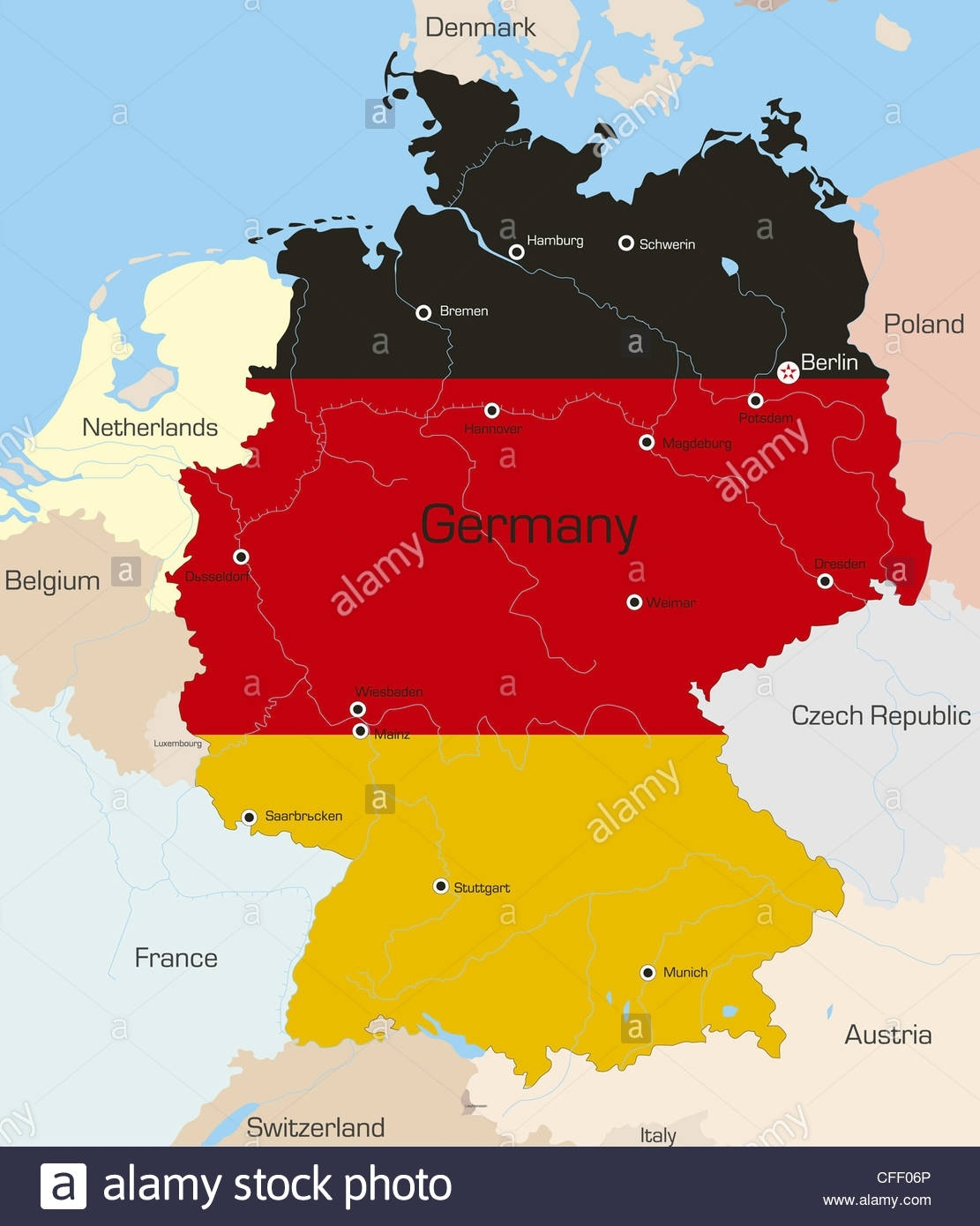 Abstract Vector Color Map Of Germany Country Colourednational with regard to Germany Country In World Map