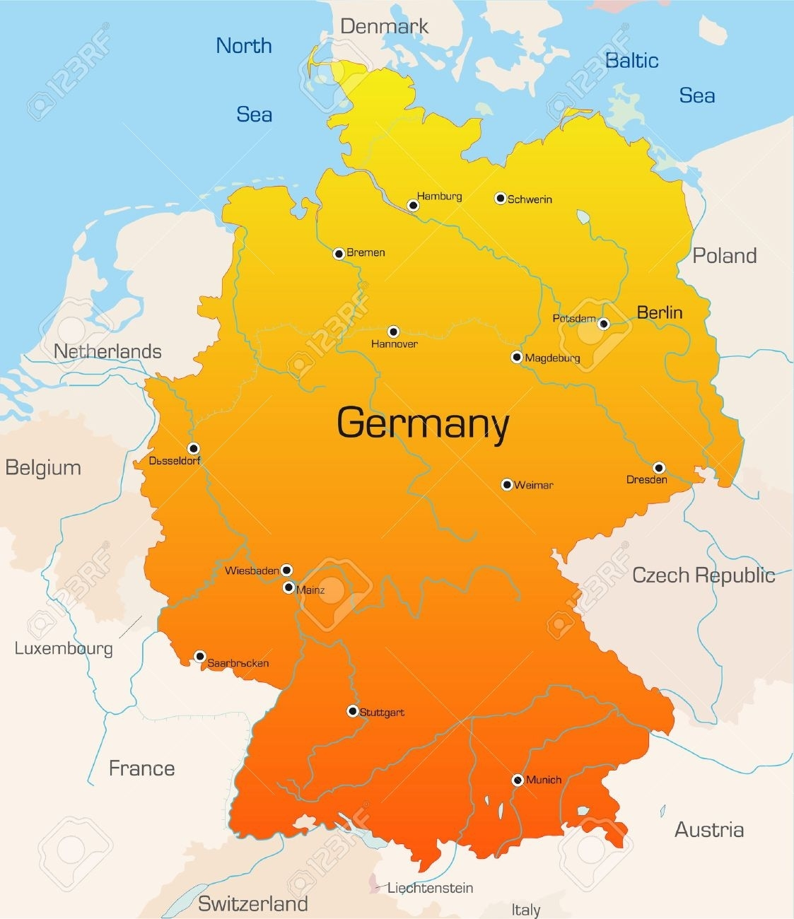 Abstract Vector Color Map Of Germany Country with Germany Country In World Map