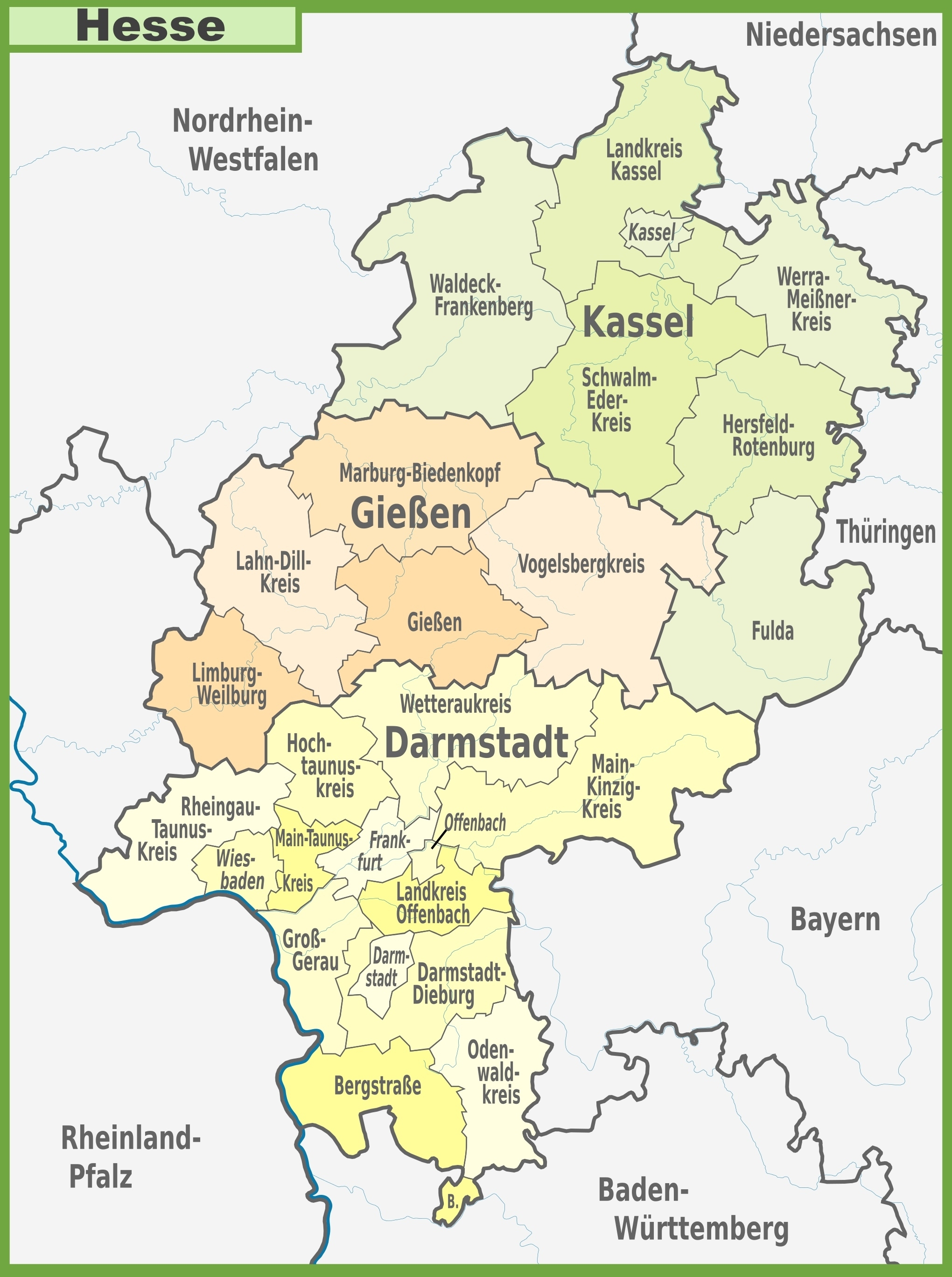 Administrative Divisions Map Of Hesse regarding Giessen Germany Map