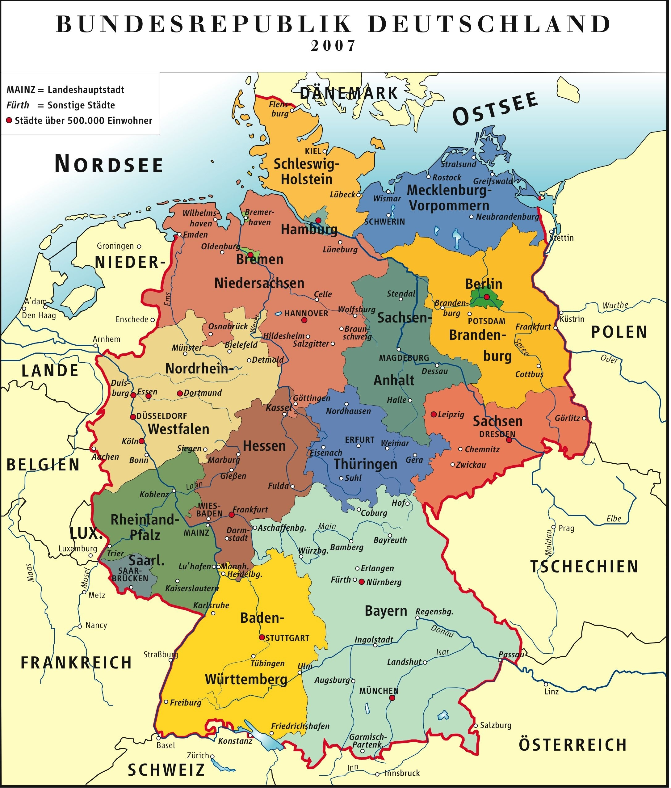 Administrative Map Of Germany (Deutsch)   Maps   Germany Travel for Map Of Germany Showing Freiburg