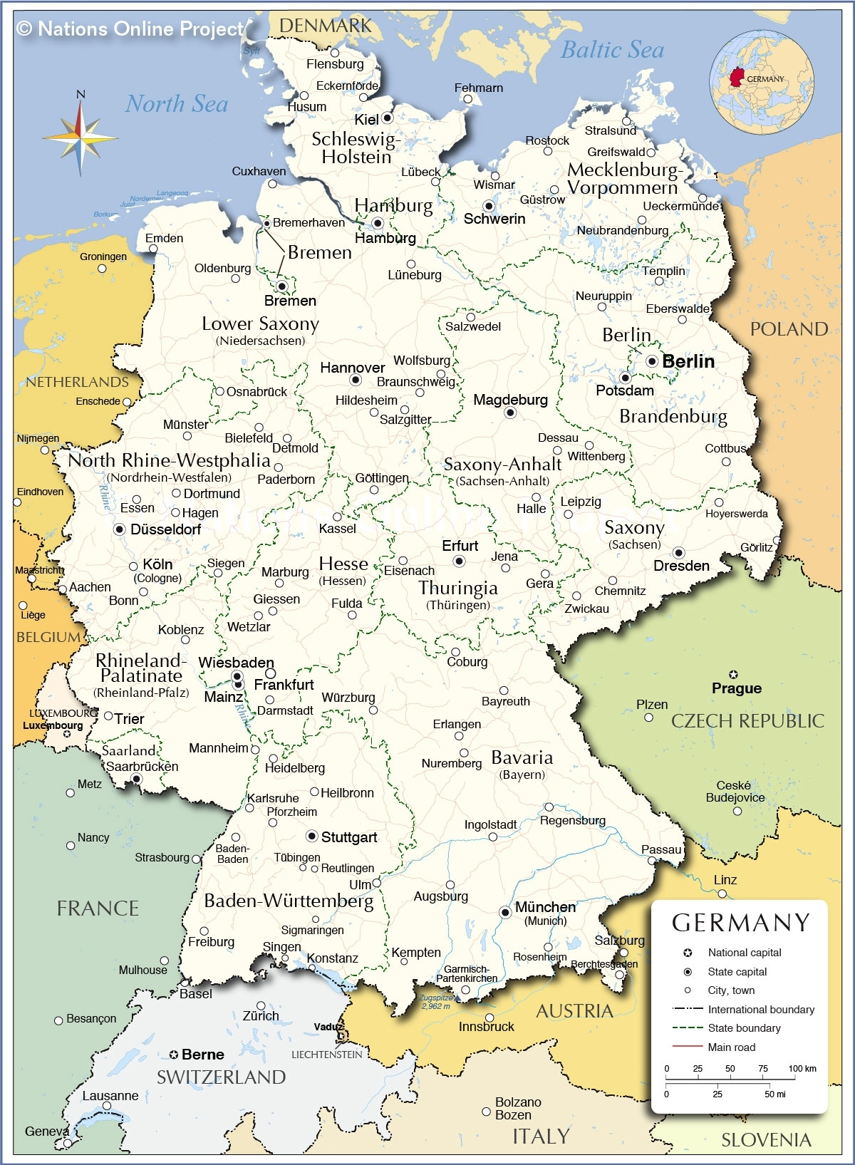 Administrative Map Of Germany - Nations Online Project with Map Of Germany And Cities