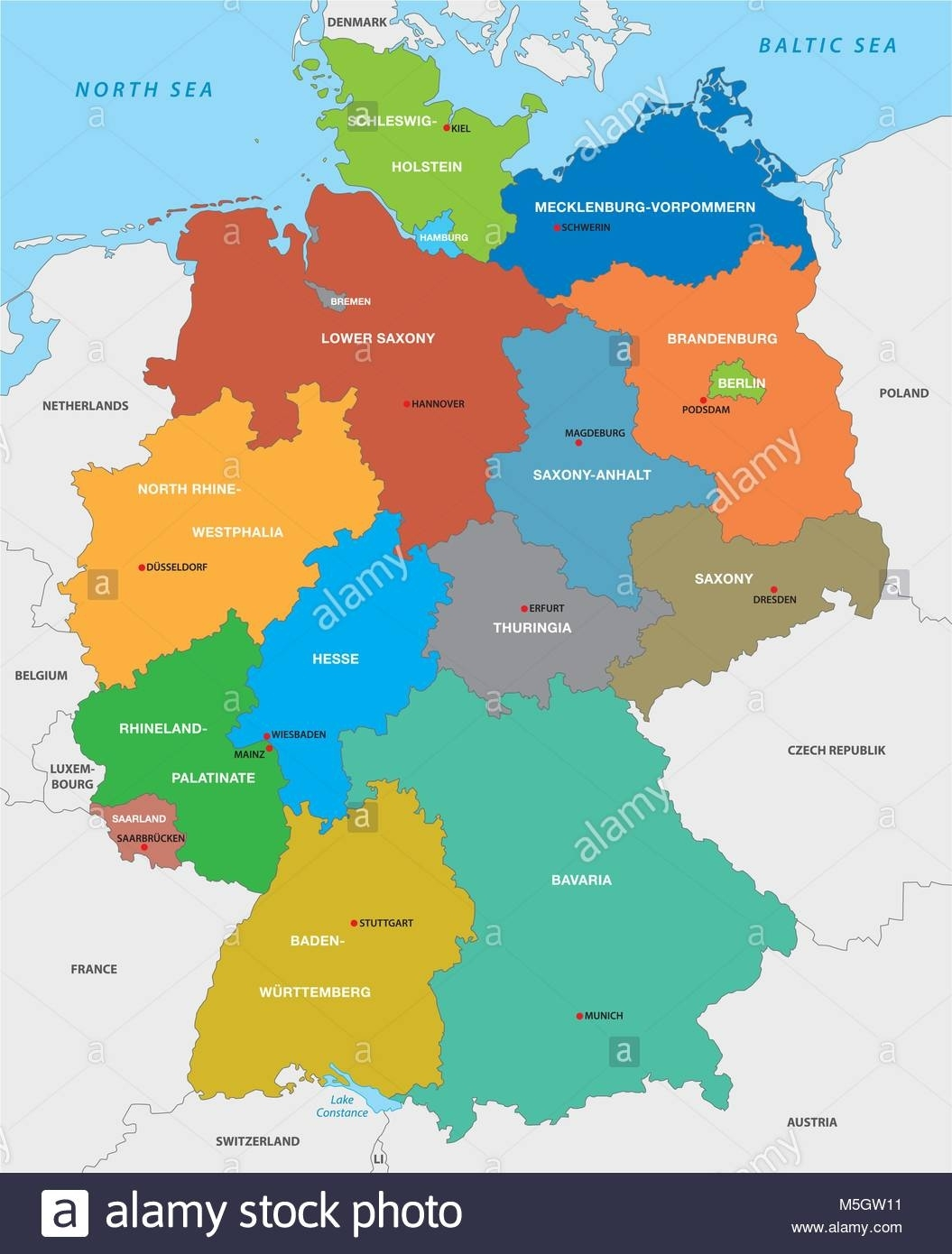 Administrative Map Of The Federal Republic Of Germany In English within Detailed Map Of Germany In English