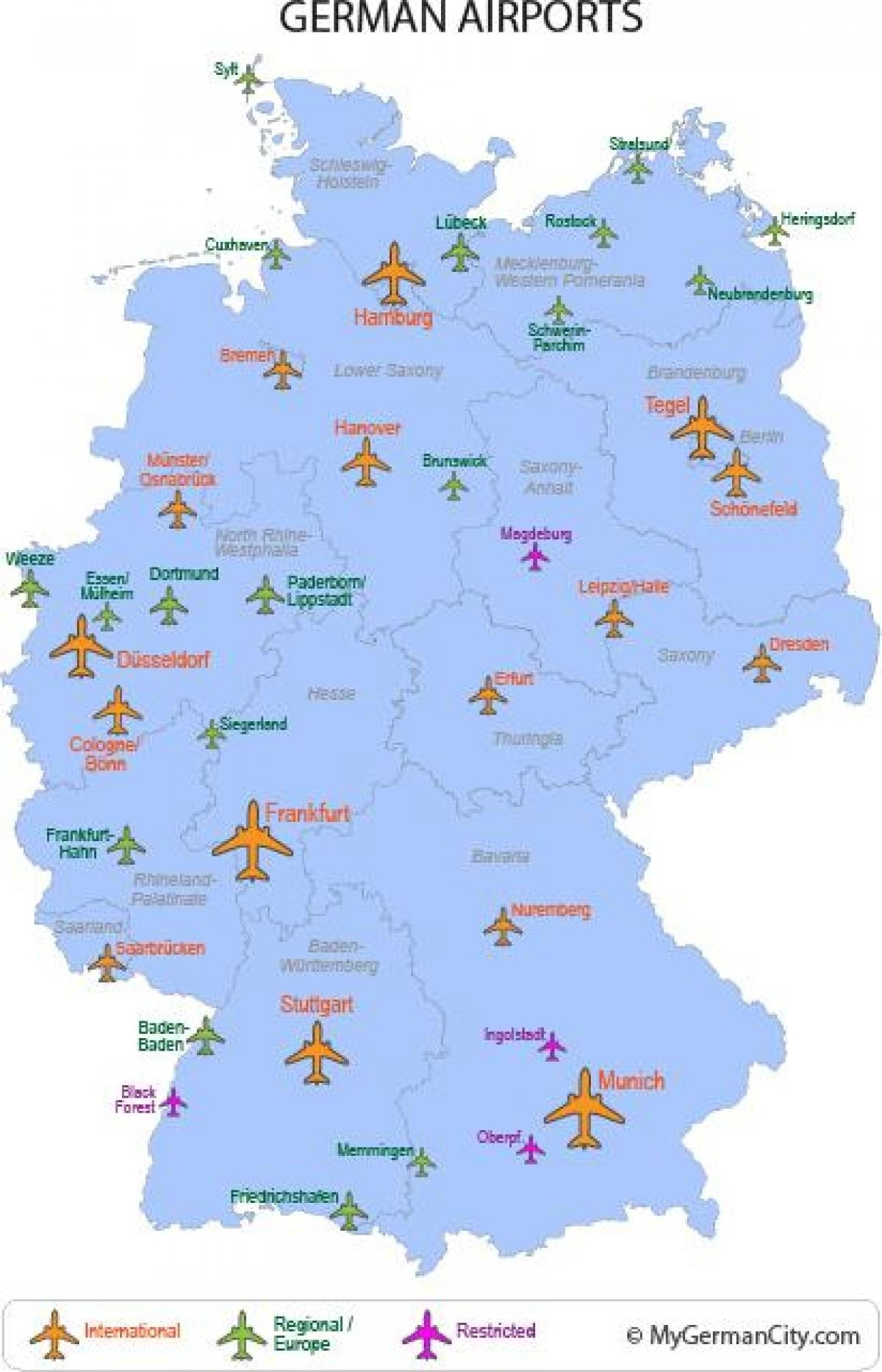Airports In Germany Map - Map Of Germany Airports (Western Europe for Germany Airports Map