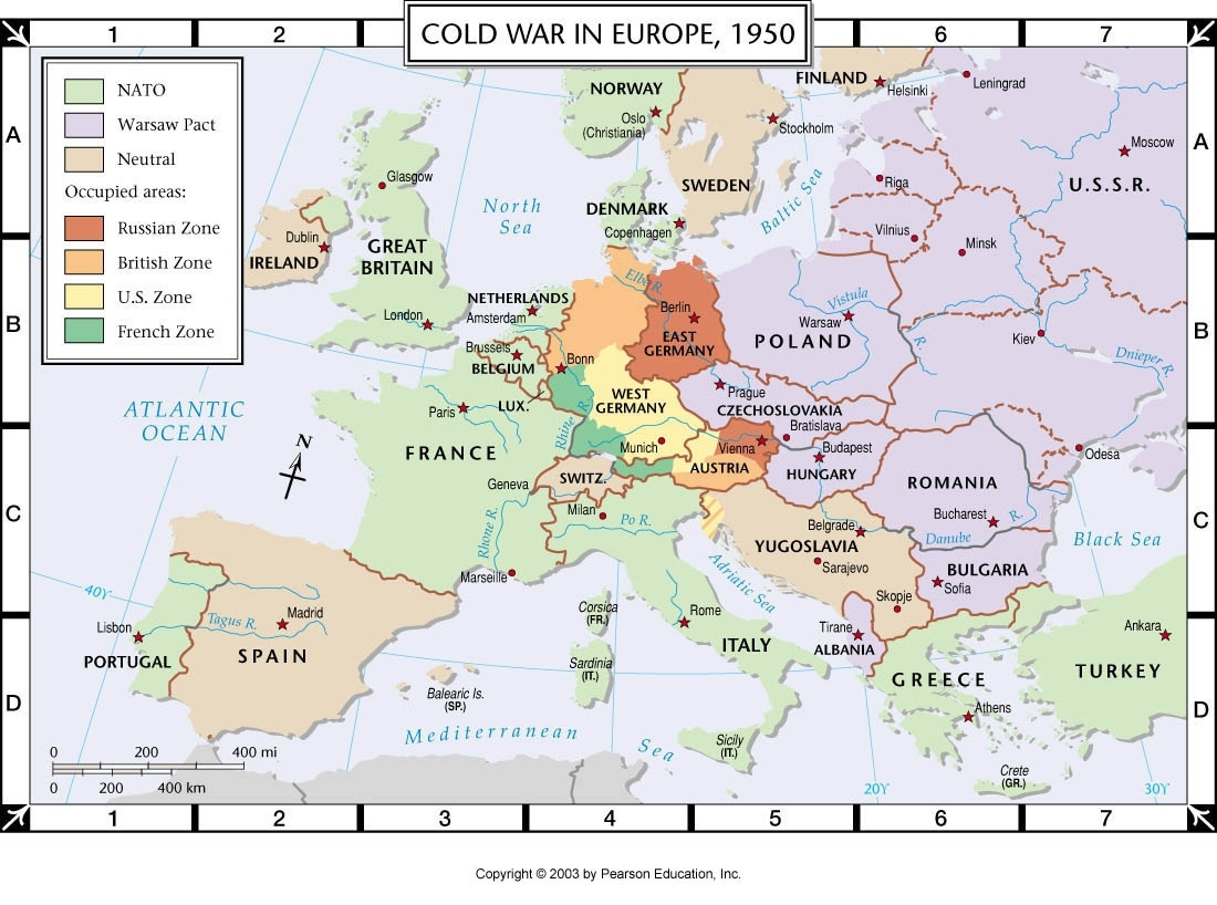 Atlas Map: Cold War In Europe, 1950 for Map Of East Germany 1950