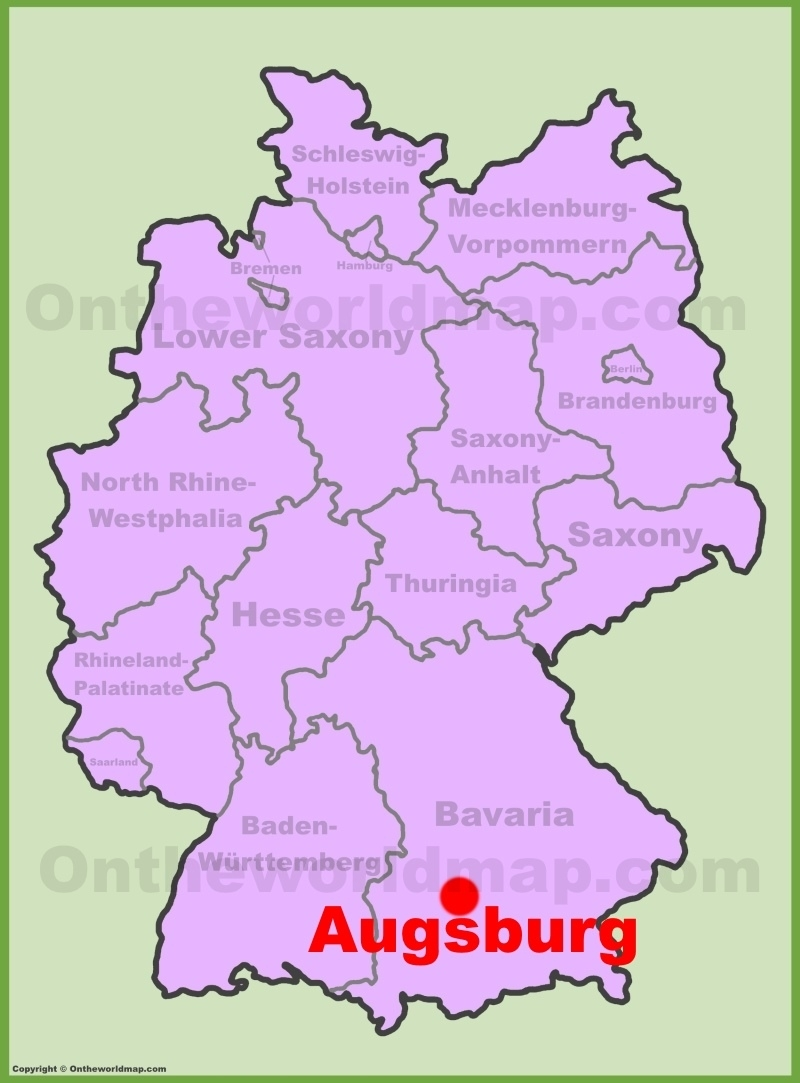 Augsburg Location On The Germany Map throughout Augsburg Germany Map