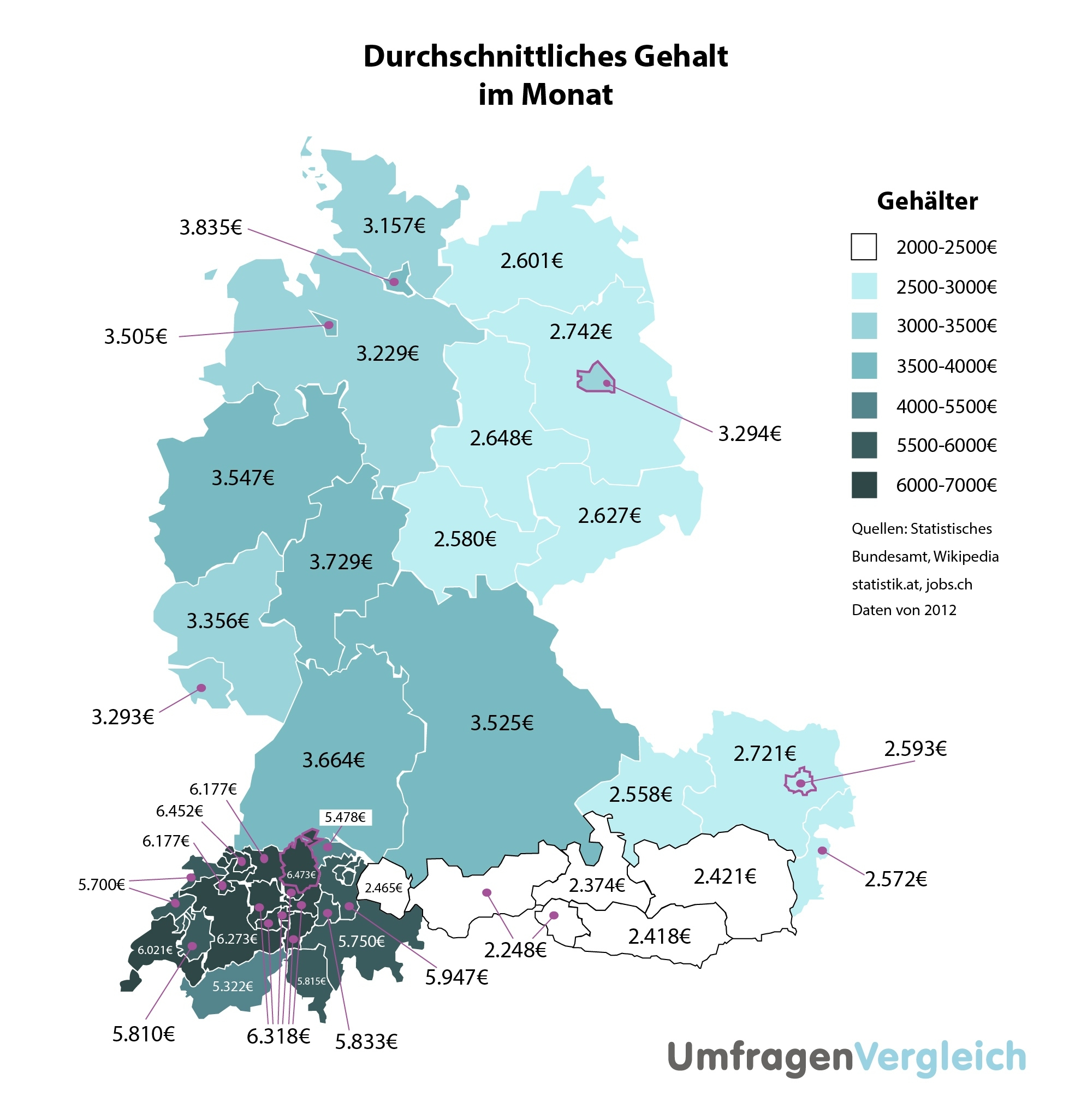 Average Wages In Germany, Austria And Switzerland   Visual.ly throughout Map Of Germany Austria And Switzerland