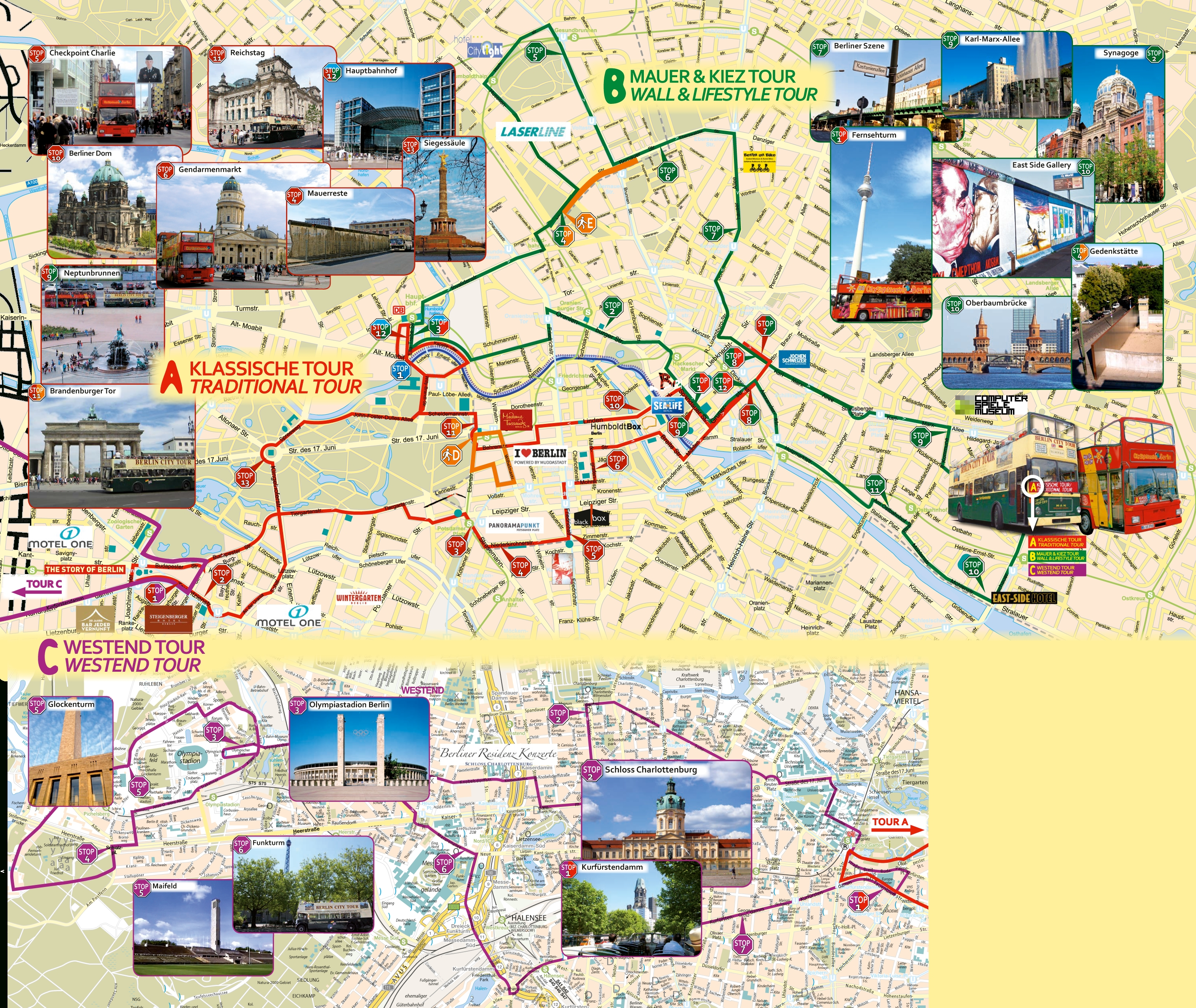 Berlin Hop On Hop Off Bus, Route Map Pdf, Combo Deals 2019 within Berlin Germany Attractions Map