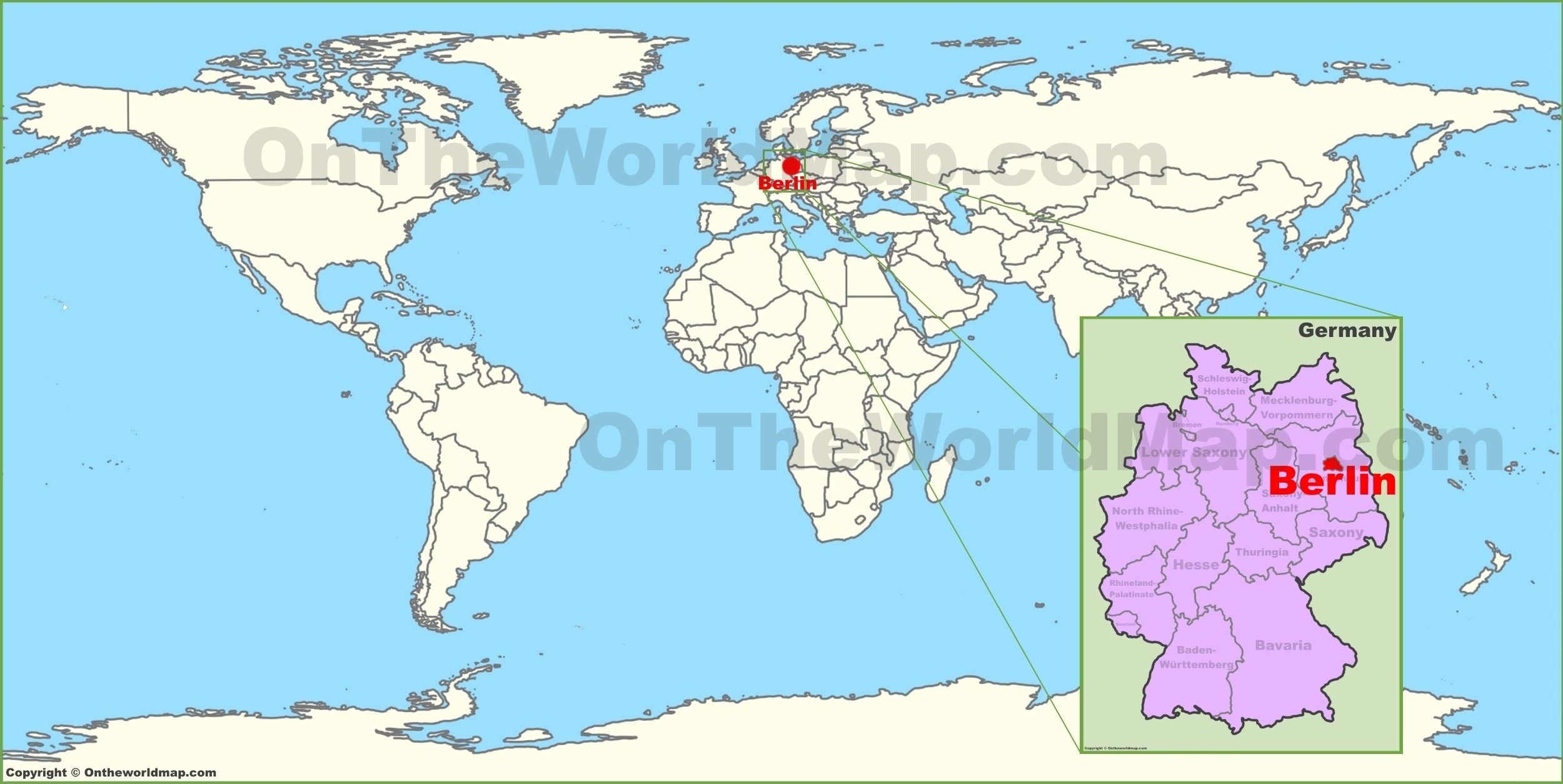 Berlin On The World Map with regard to Map Of The World With Germany