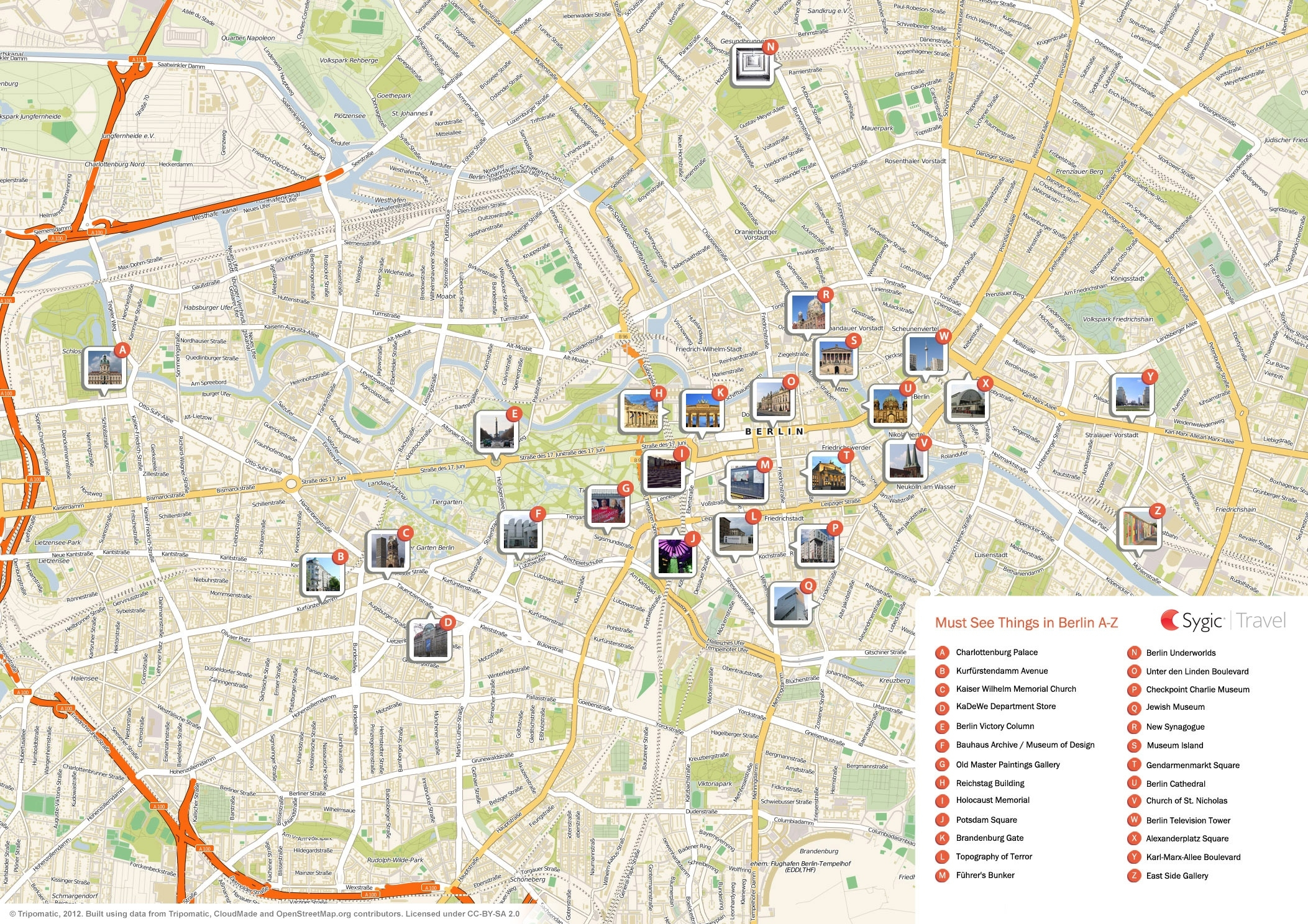 Berlin Printable Tourist Map | Sygic Travel throughout Berlin Germany Attractions Map