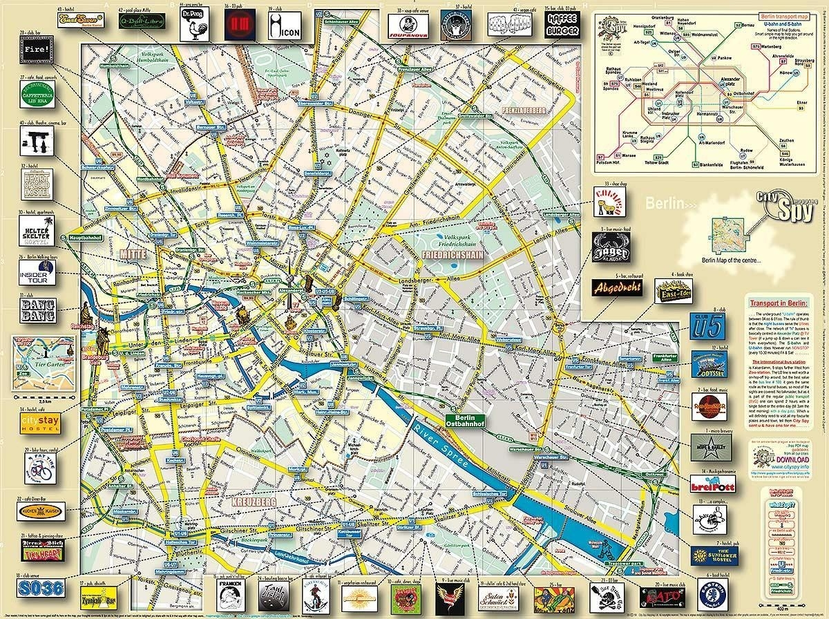 Berlin Tourist Attractions Map - Berlin City Map With Attractions intended for Berlin Germany Attractions Map
