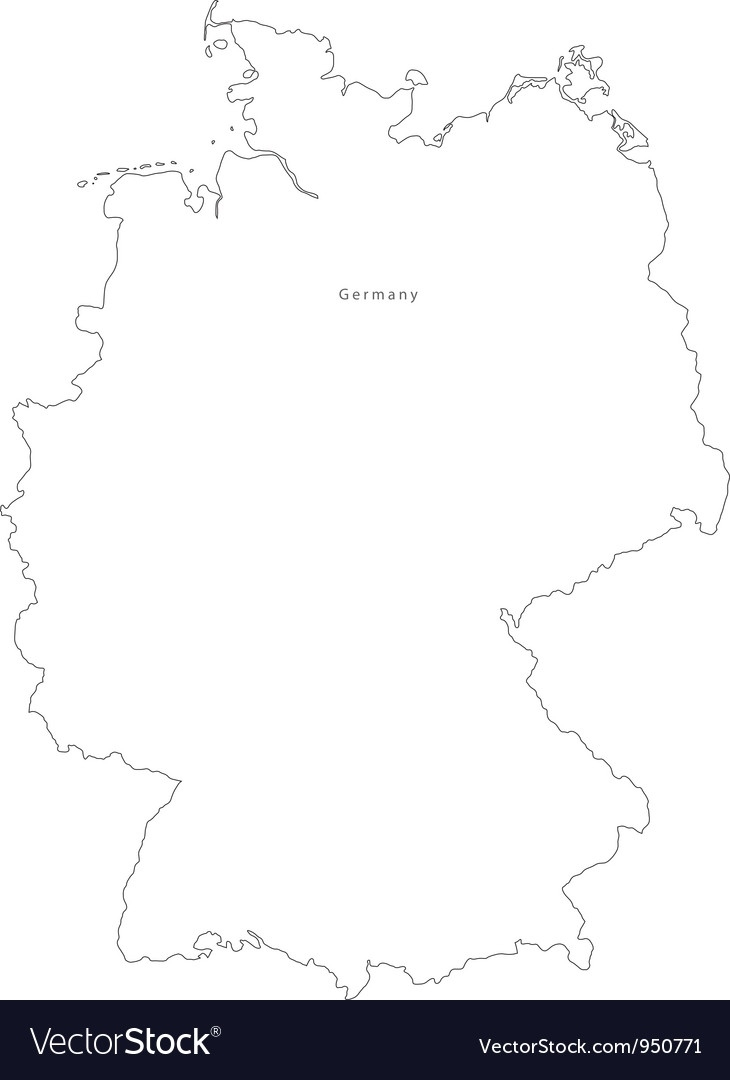 Black White Germany Outline Map for Germany Map Outline