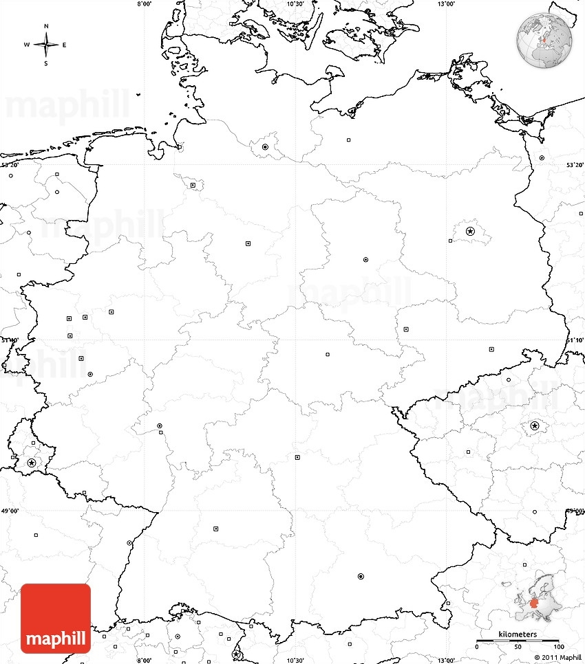 Blank Simple Map Of Germany, No Labels for Outline Map Of Germany And Surrounding Countries