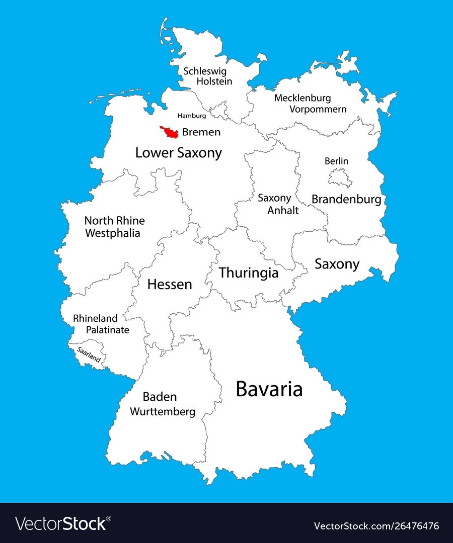 Bremen State Map Germany Province Map Silhouette with Bremen Port Germany Map