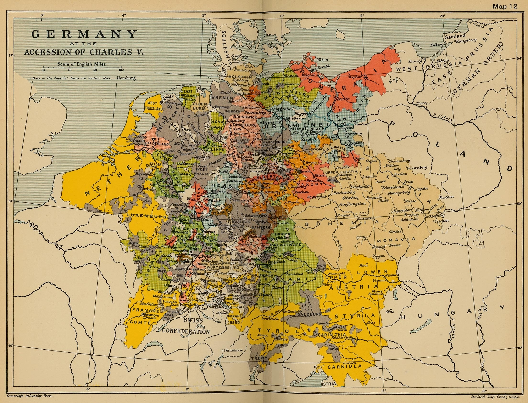 Cambridge Modern History Atlas 1912 - Perry-Castañeda Map Collection for German Map In 1900