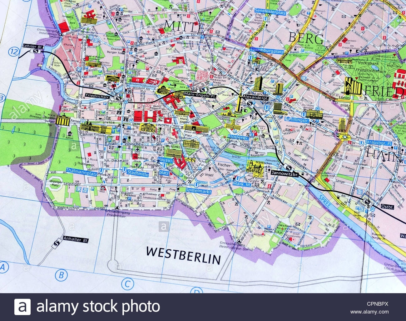 Cartography, City Map, East Berlin, Detail: Berlin-Mitte Stock Photo throughout Map Of East Germany 1980