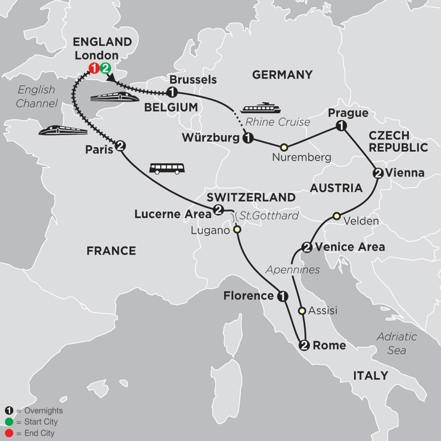 Central Europe Tour - Cosmos® Affordable Tour Packages with regard to Map Of Germany Austria And Prague