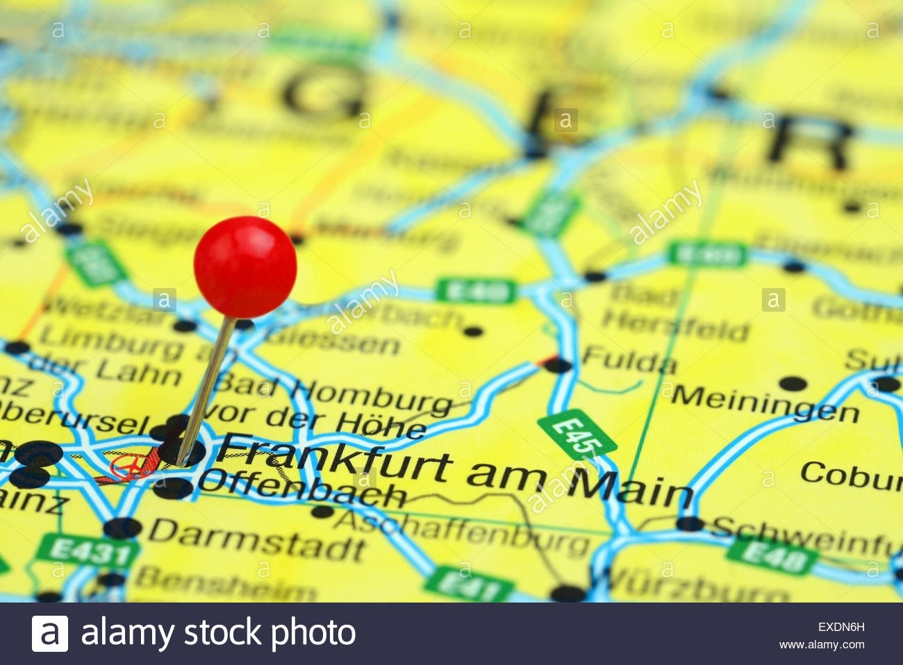 Close Up Frankfurt Germany Map Red Stock Photos & Close Up Frankfurt regarding Frankfurt Am Main Germany Map