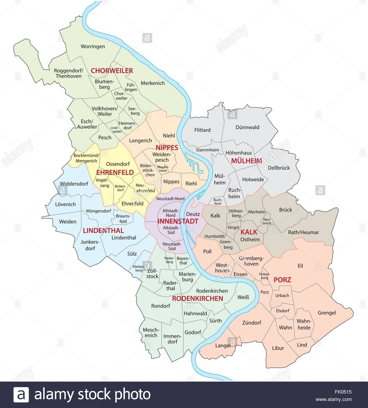 Cologne Administrative Map, Germany Stock Vector Art & Illustration regarding Cologne Germany Map