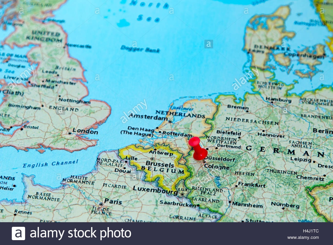 Cologne, Germany Pinned On A Map Of Europe Stock Photo: 123327804 in Cologne Germany Map