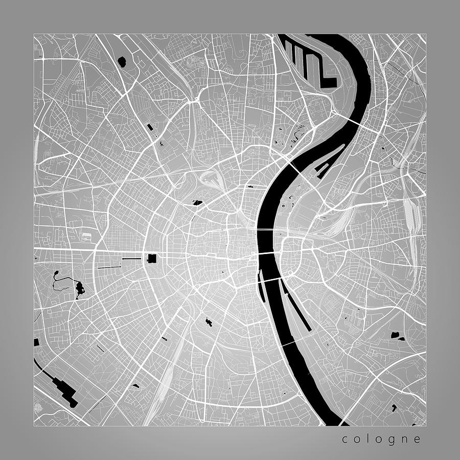 Cologne Street Map - Cologne Germany Road Map Art On Color with regard to Street Map Cologne Germany