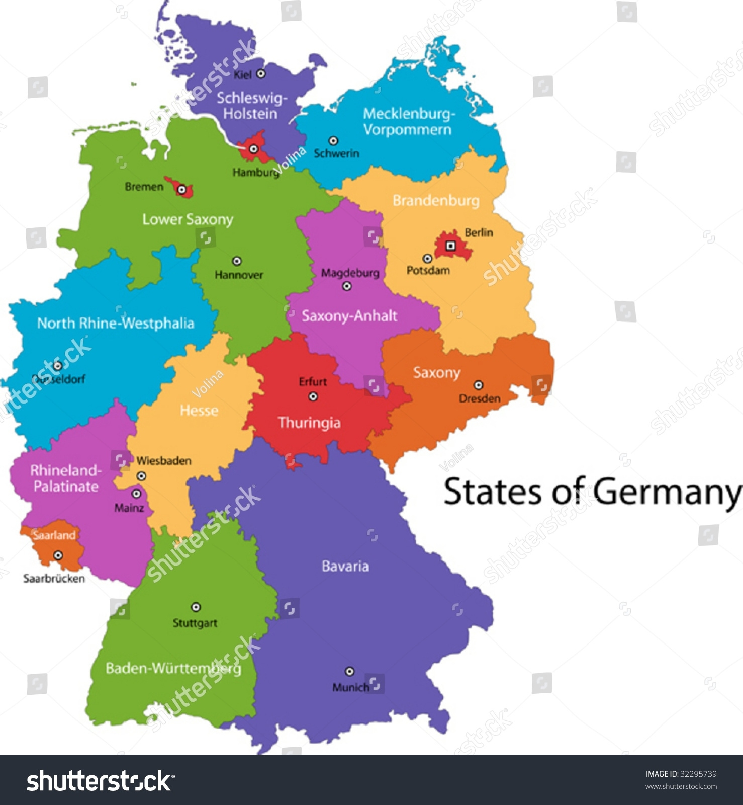 Colorful Germany Map Regions Main Cities Stock Vector (Royalty Free regarding Germany Map Main Cities
