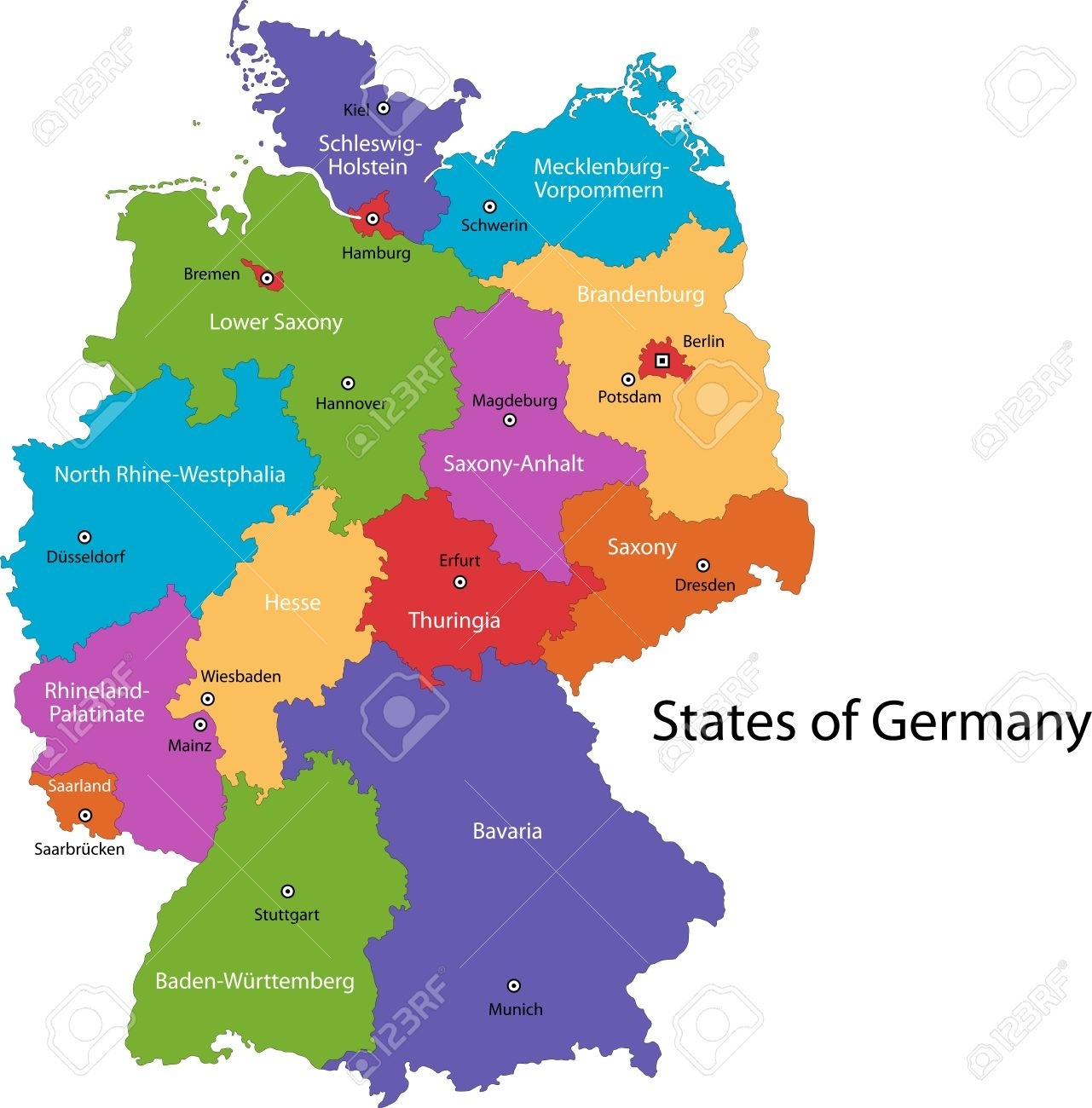 Colorful Germany Map With Regions And Main Cities pertaining to Germany Regions Map