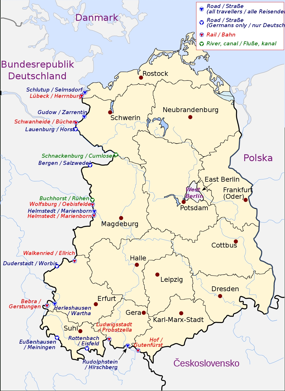 Crossing The Inner German Border - Wikipedia for East Germany Map With Cities