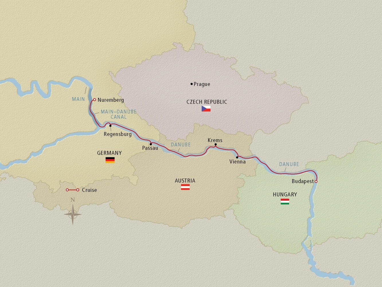 Danube River Cruise Map - Cruise Critic with Map Of Danube River In Germany