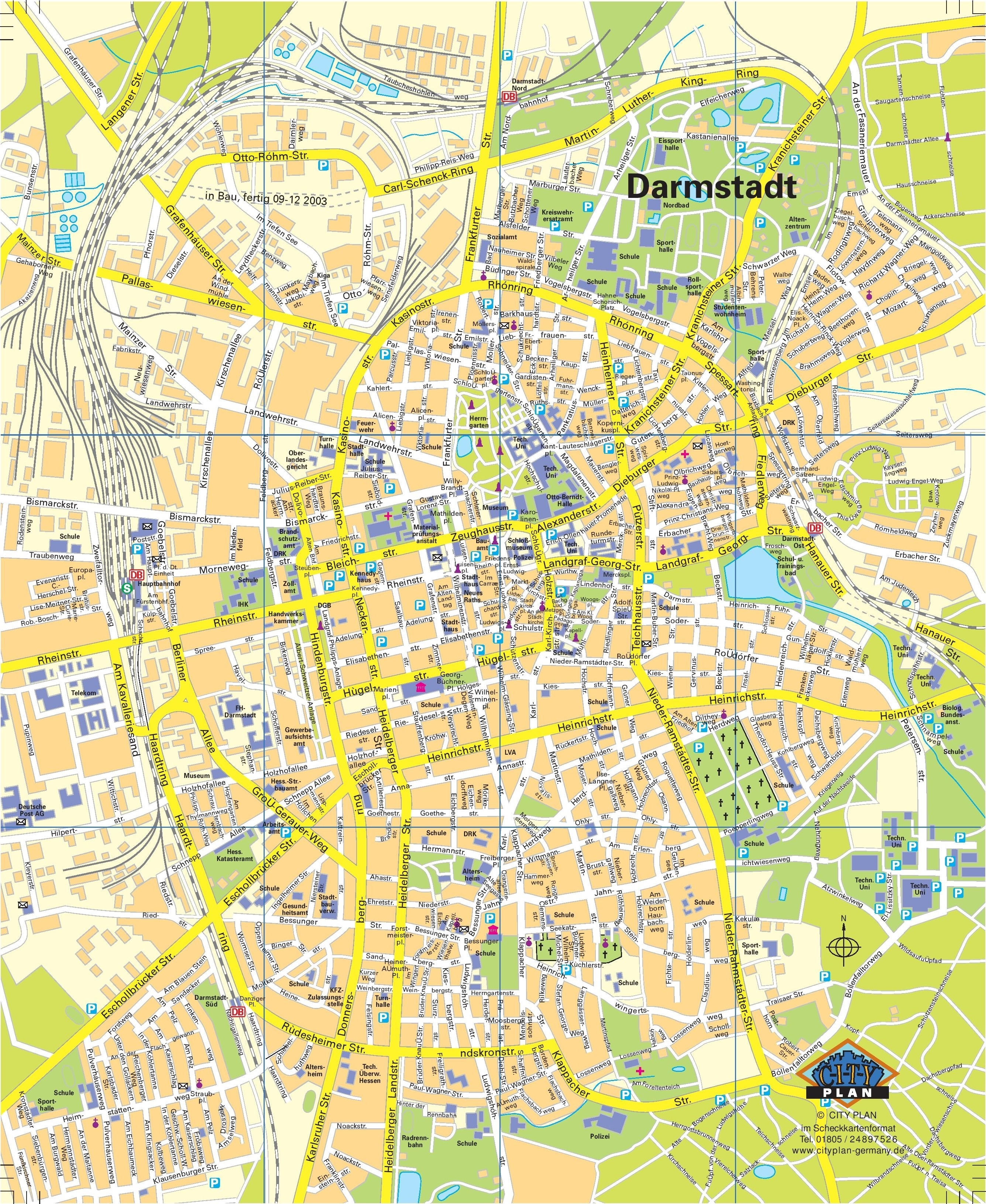 Darmstadt Tourist Map intended for Darmstadt Hessen Germany Map