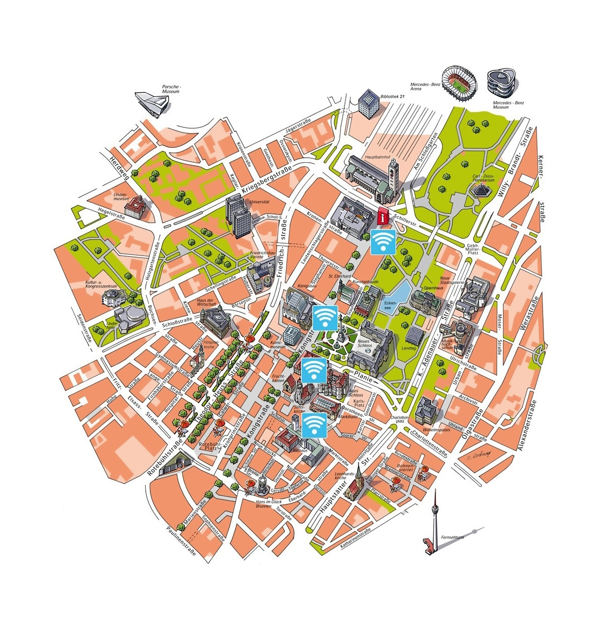 Detailed Free Wifi Map Of Central Part Of Stuttgart City   Stuttgart with regard to Free Wifi Map Germany