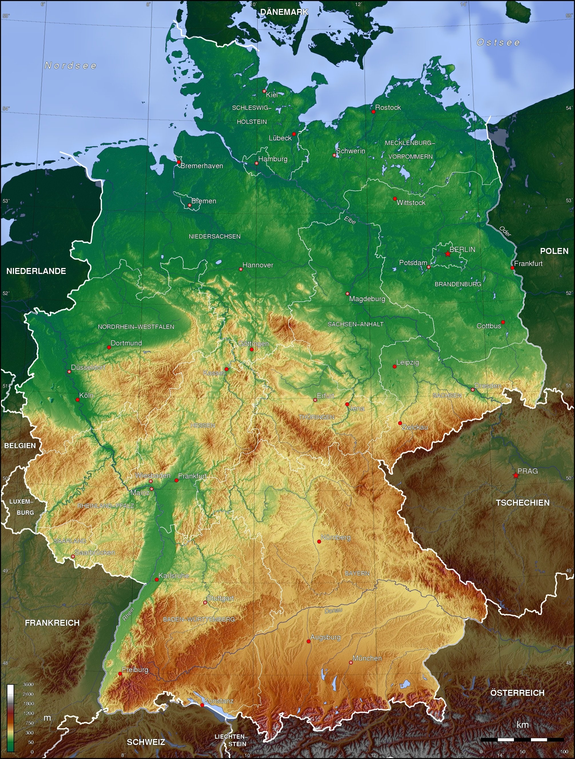Detailed Topographic Map Of Germany (2011 X 2654) : Mapporn inside Germany Topographic Map