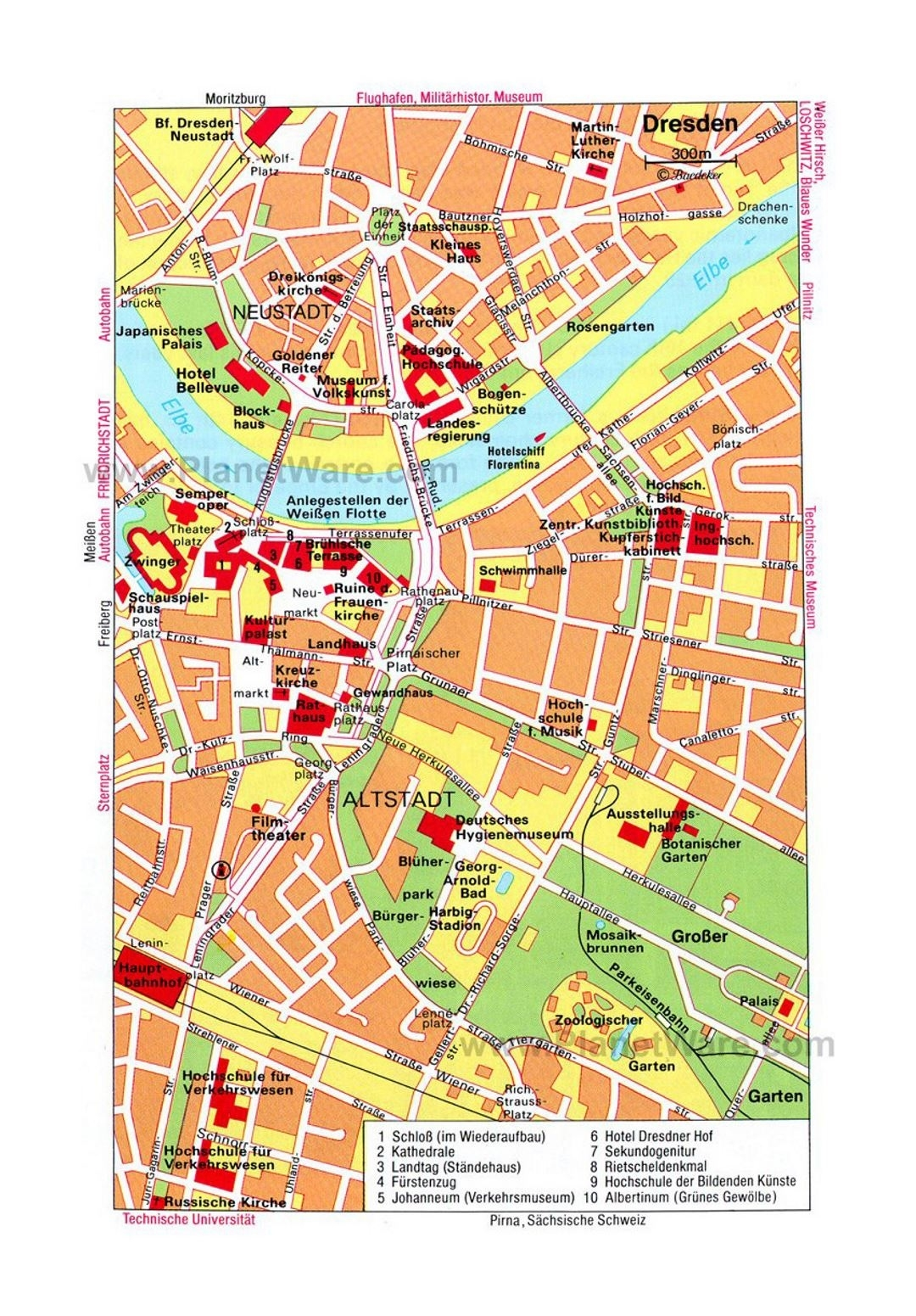 Detailed Travel Map Of Central Part Of Dresden City | Dresden with Dresden Germany Map