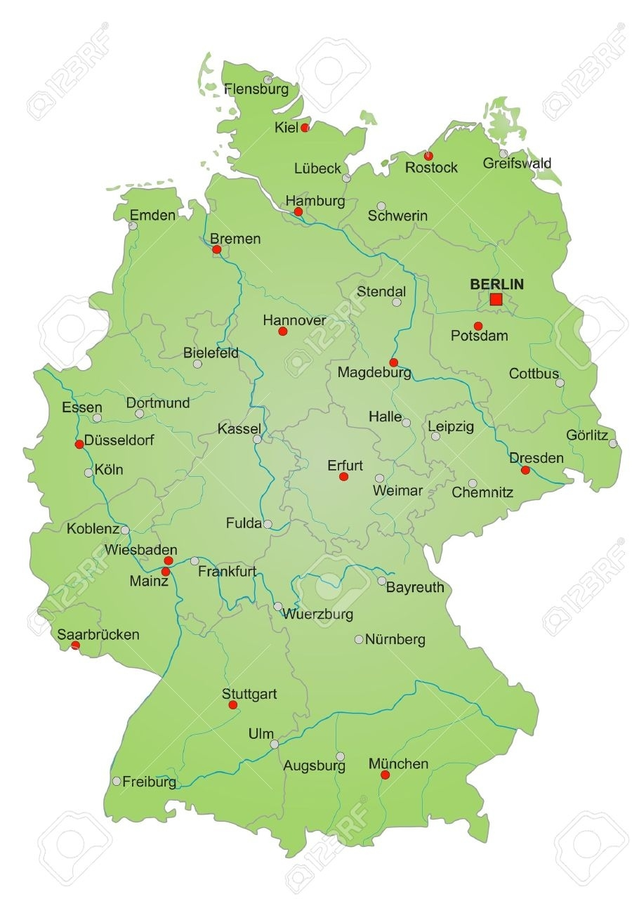 Detailled Map Of Germany Showing Cities, Rivers And All States inside Map Of Germany And Cities