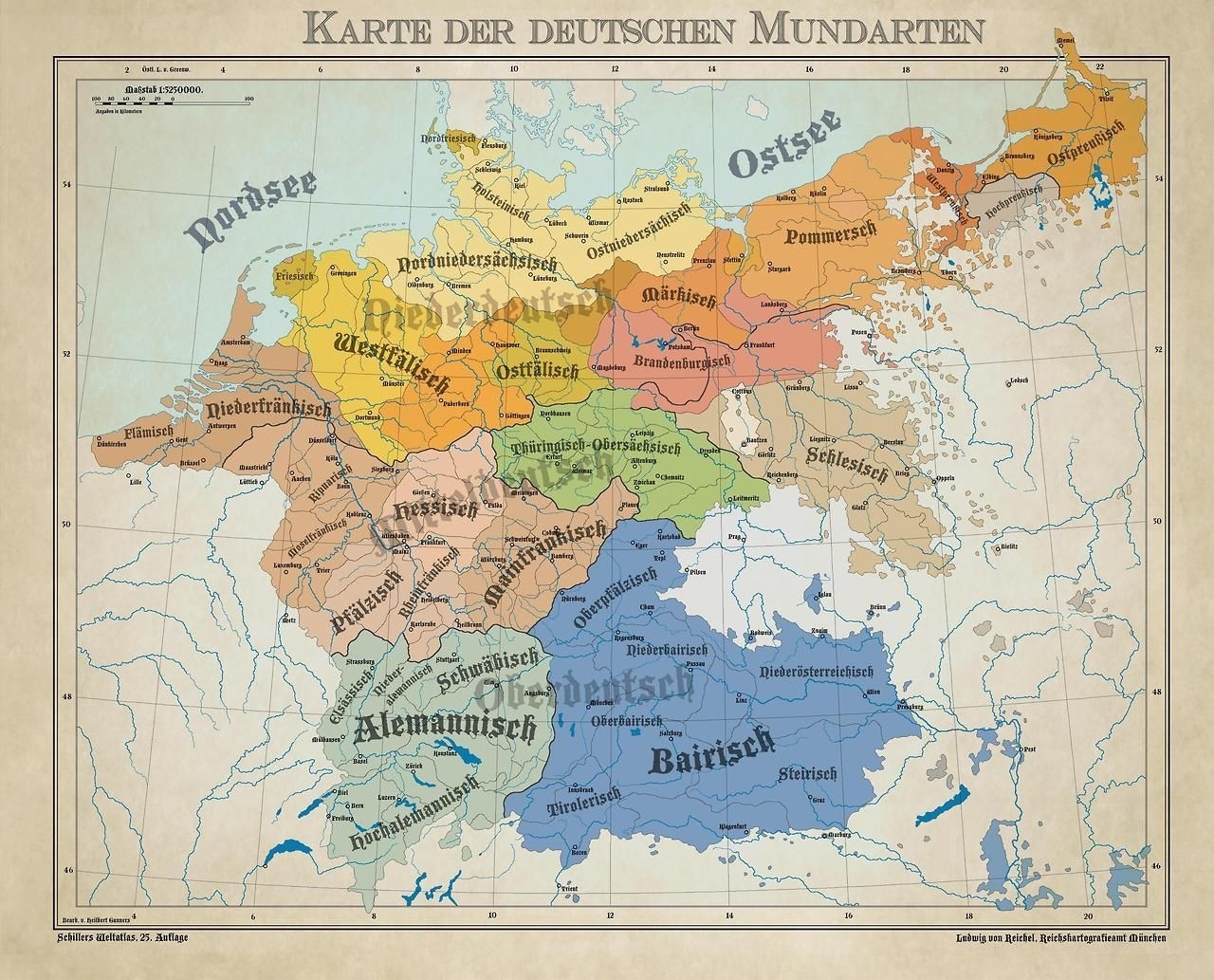 Dialects From The German Language Area 1900.   Maps   German in German Map In 1900