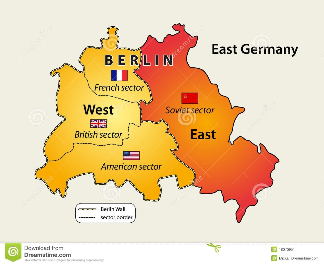 Divided Berlin Stock Vector. Illustration Of East, German - 18070951 pertaining to East West Germany Map Berlin Wall