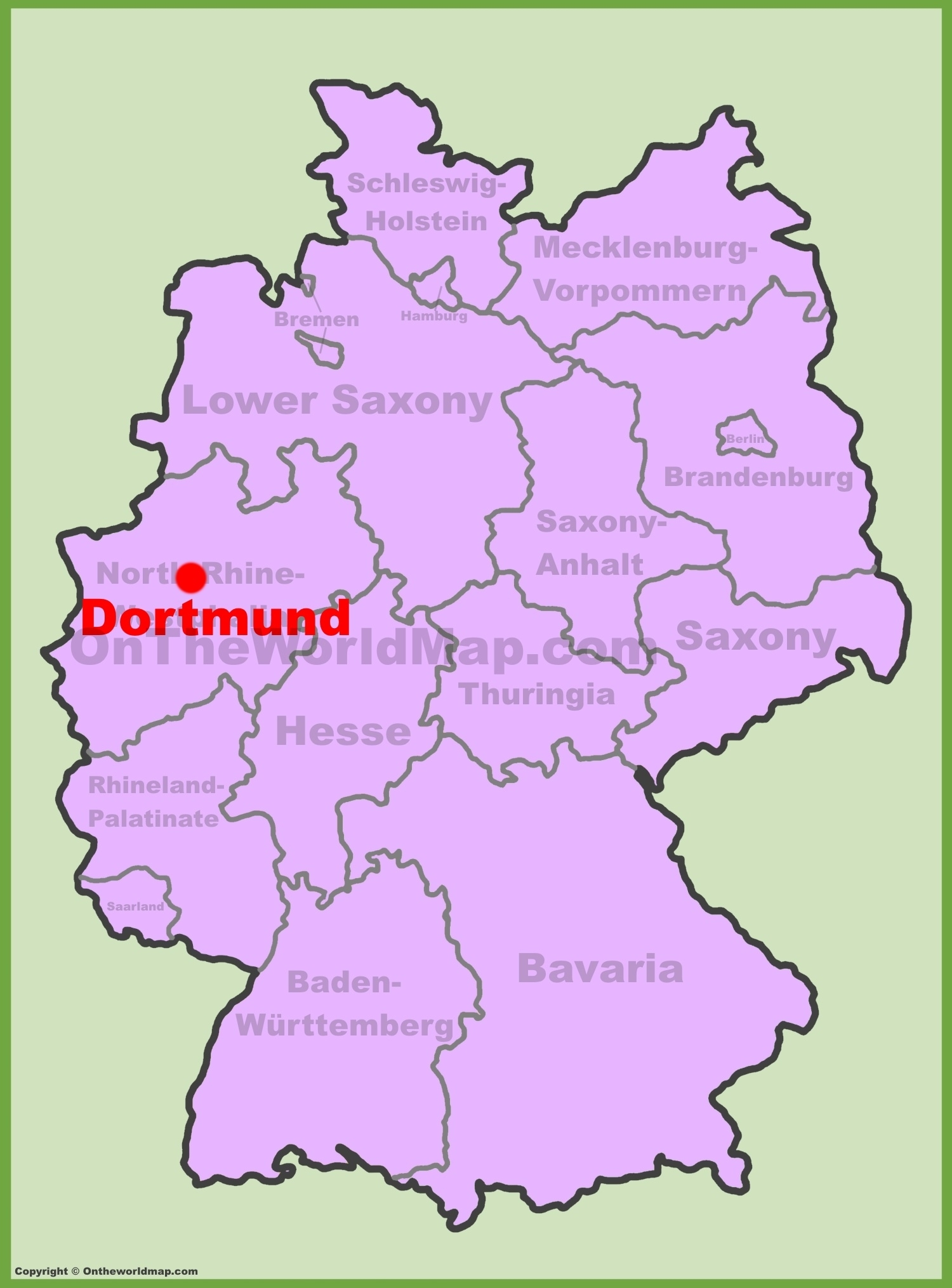 Dortmund Location On The Germany Map within Map Of Germany Showing Dortmund