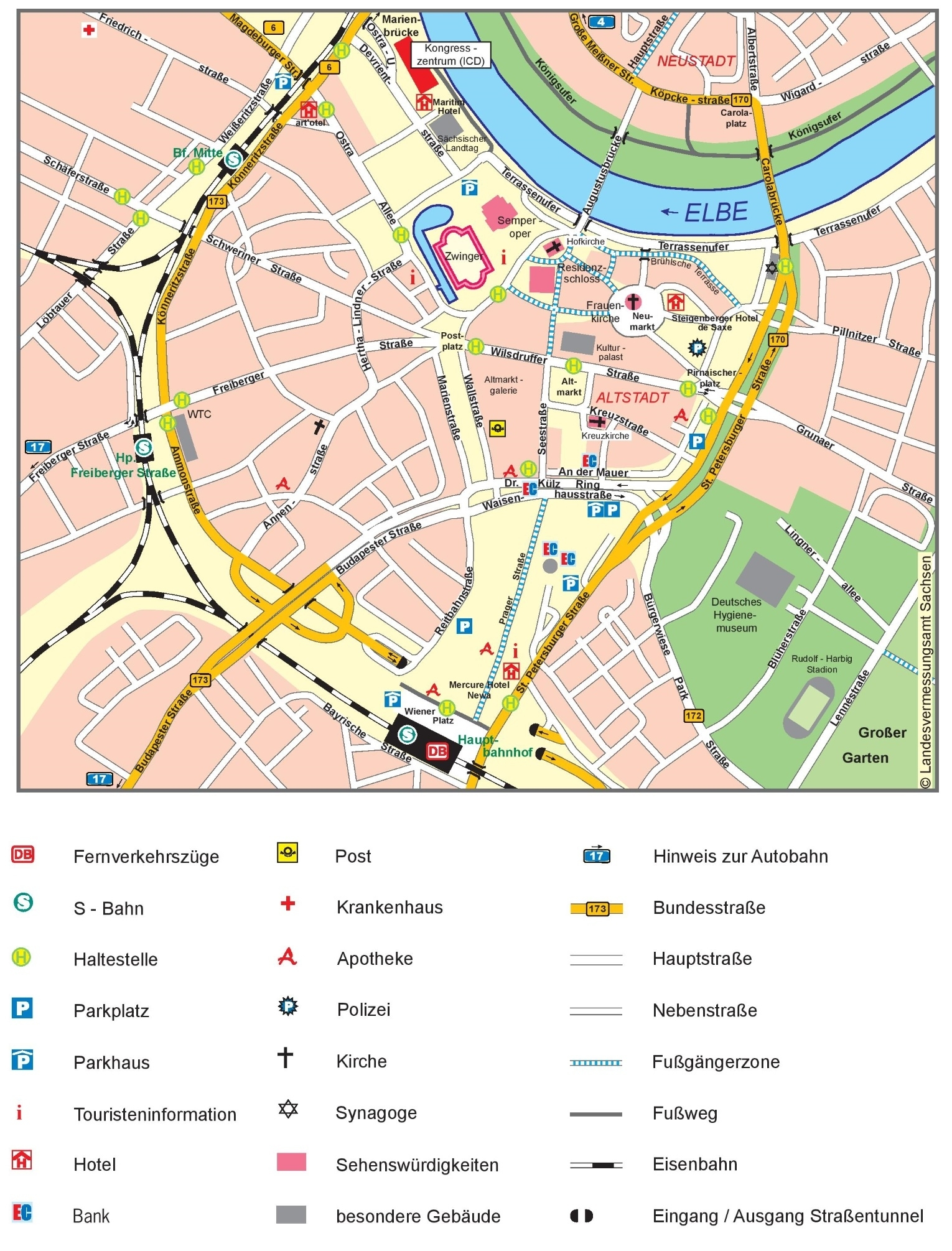 Dresden City Center Map intended for Dresden Germany City Map