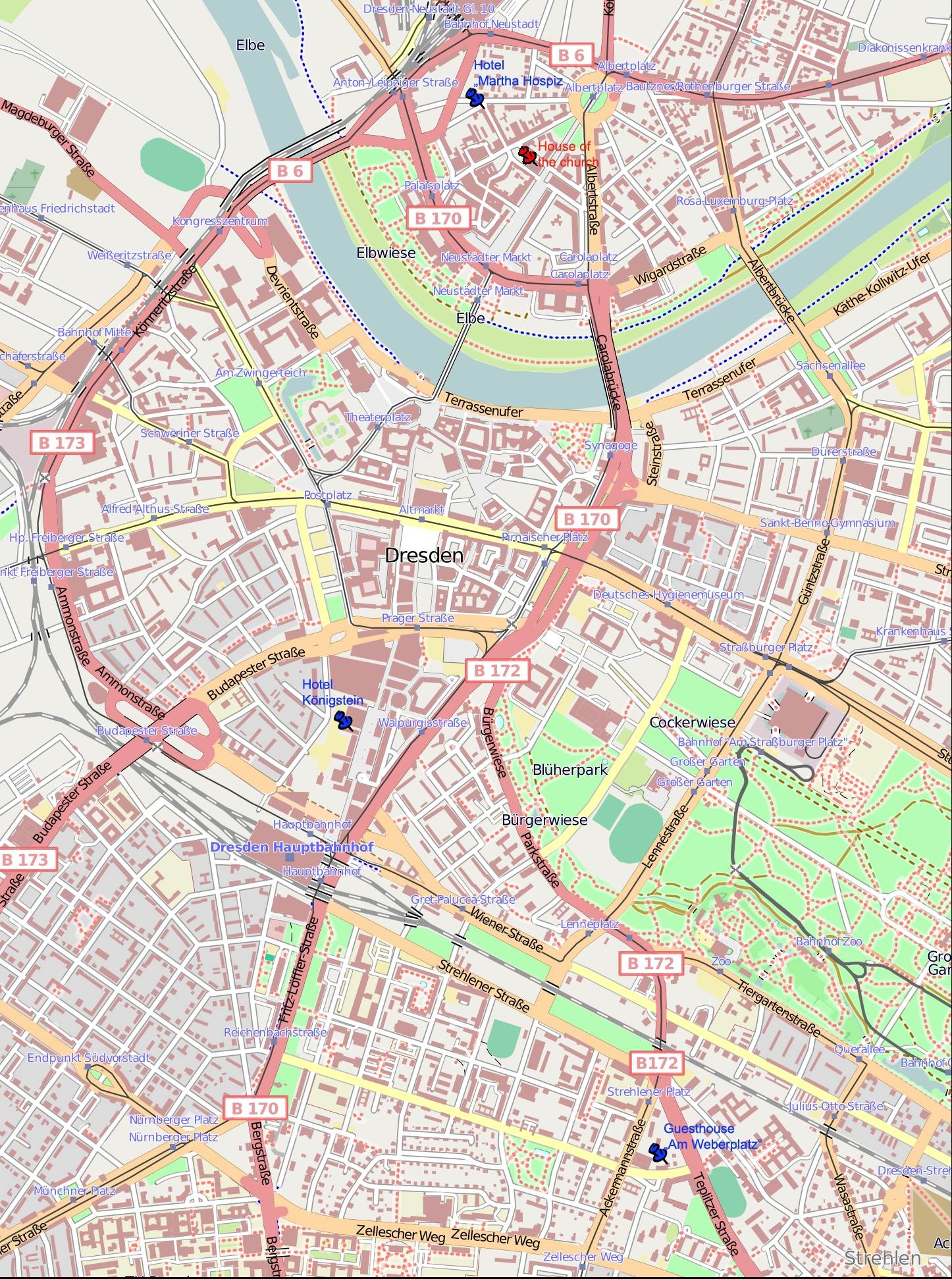 Dresden Germany Tourist Map - Dresden • Mappery throughout Dresden Germany Map
