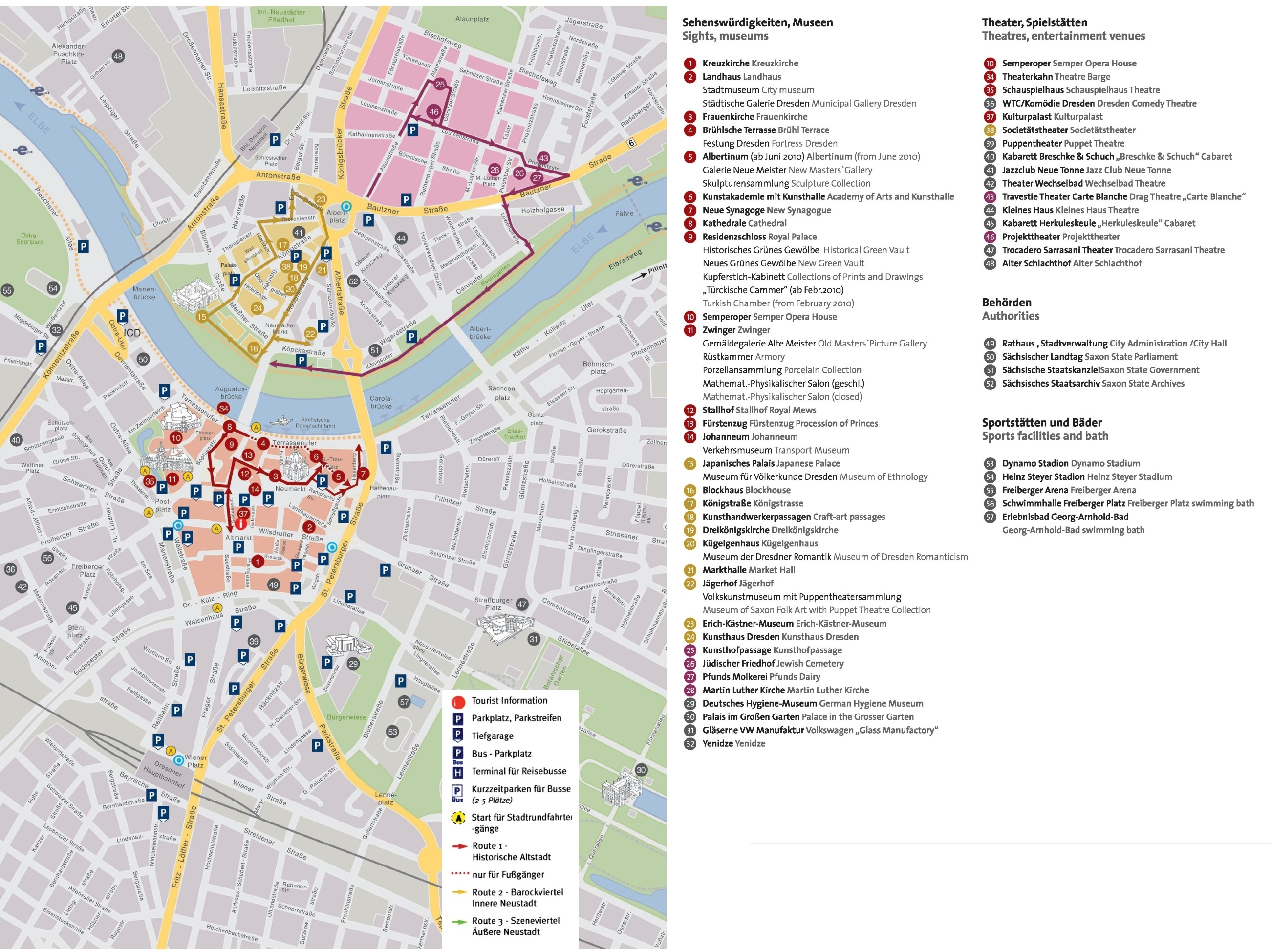 Dresden Tourist Attractions Map inside Dresden Germany City Map