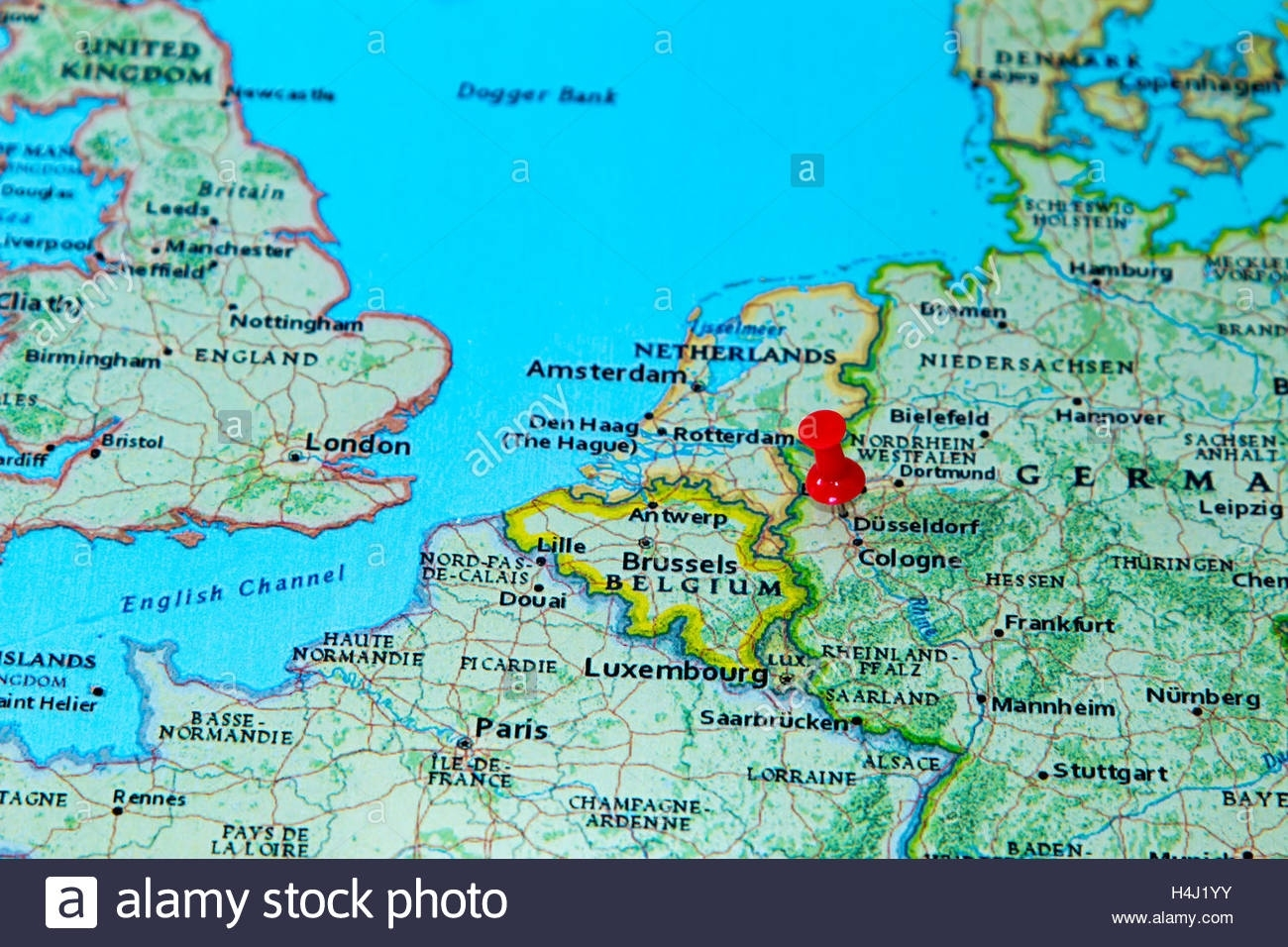 Dusseldorf, Germany Pinned On A Map Of Europe Stock Photo: 123327903 within Dusseldorf Germany Map
