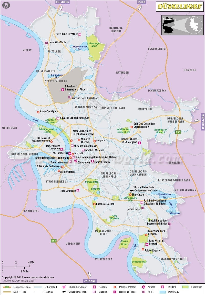 Dusseldorf Map   Map Of Dusseldorf City, North Rhine-Westphalias intended for Where Is Dusseldorf Germany On The Map