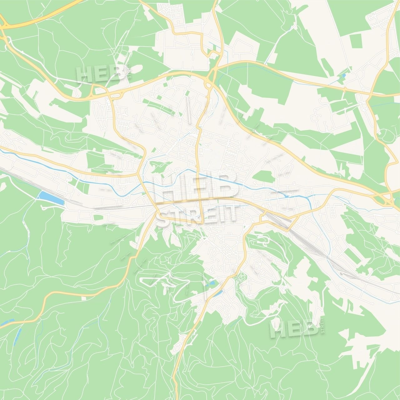 Eisenach, Germany Vector Map - Classic Colors   Maps Vector Downloads inside Eisenach Germany Map