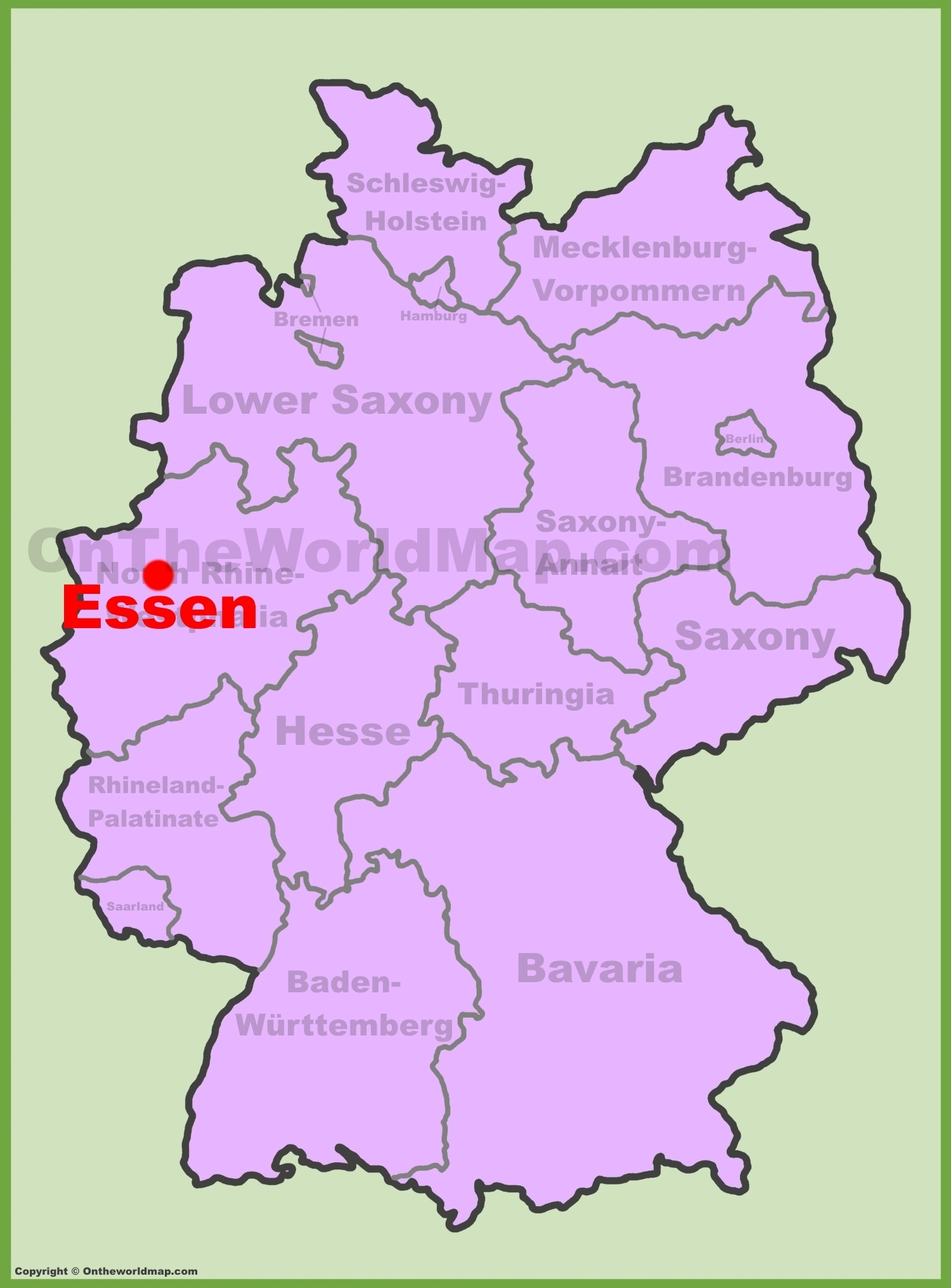 Essen Location On The Germany Map in Essen Germany Map