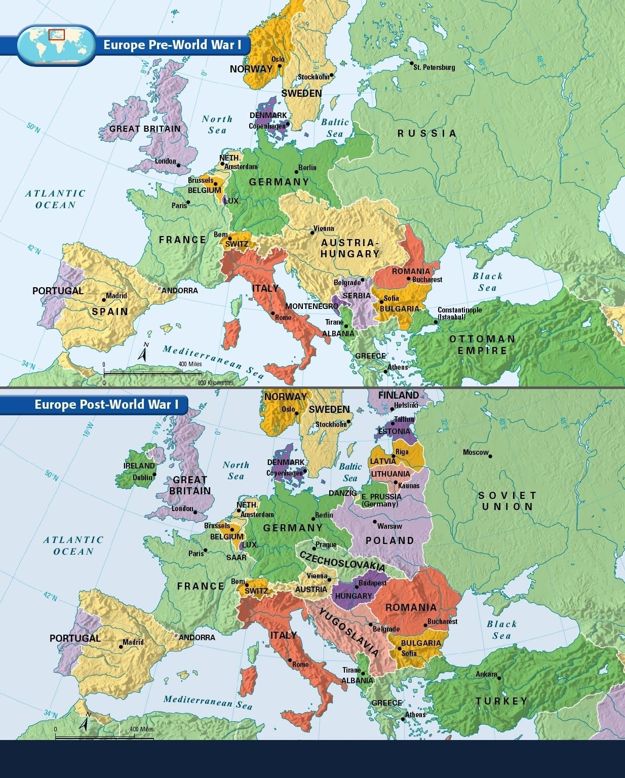 Europe: Before And After The Great War Of 1914-1918.   Maps   Ww1 for Germany Map Before Ww1 And After