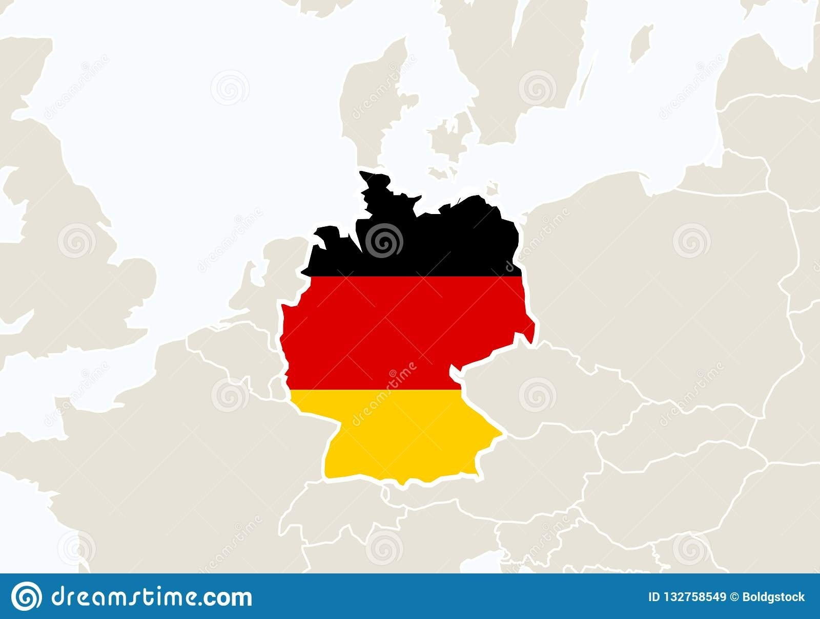 Europe With Highlighted Germany Map Stock Vector - Illustration Of pertaining to Europe Map With Germany Highlighted