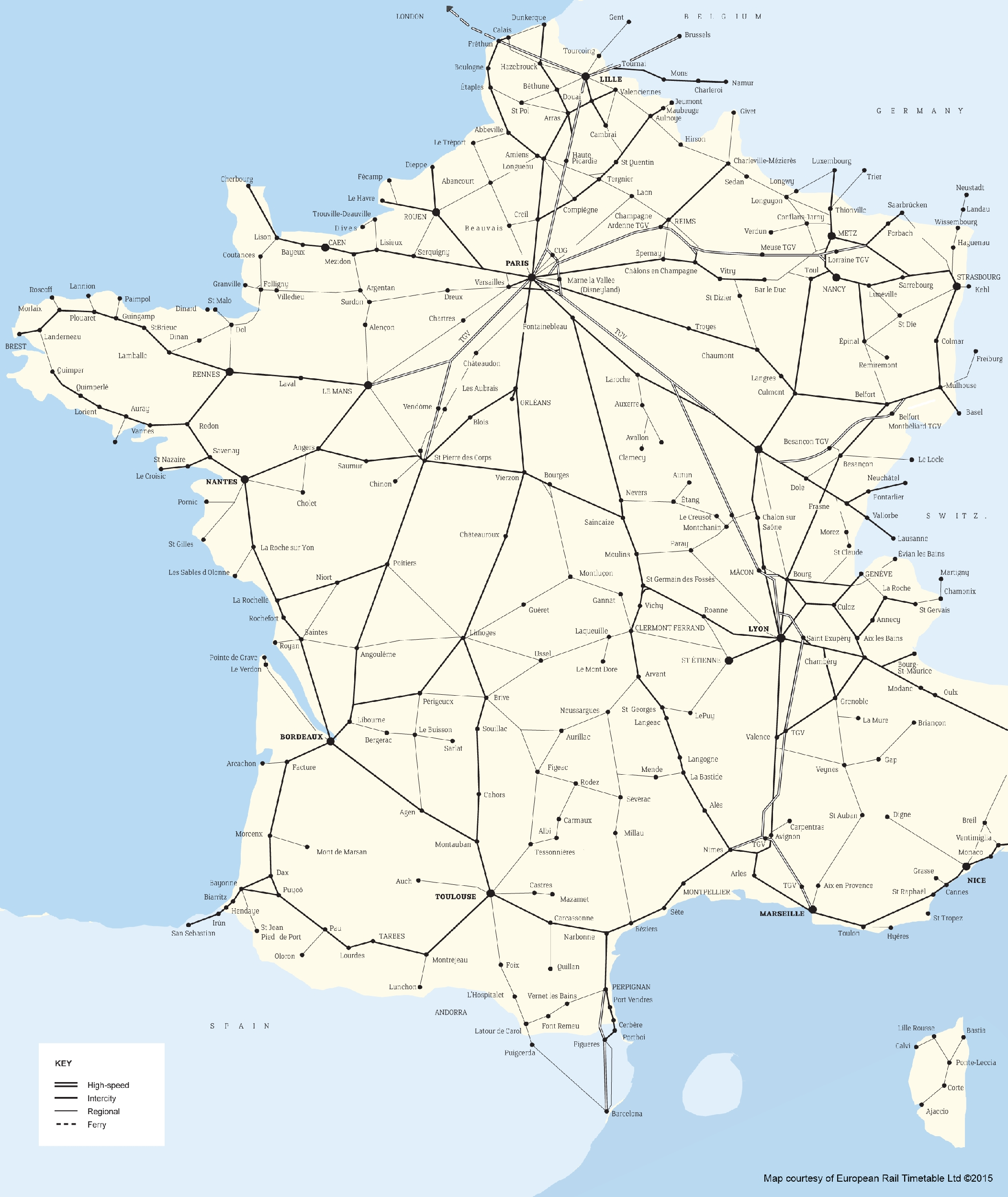 European Rail Network Maps - Loco2 Help within Map Of Germany And France
